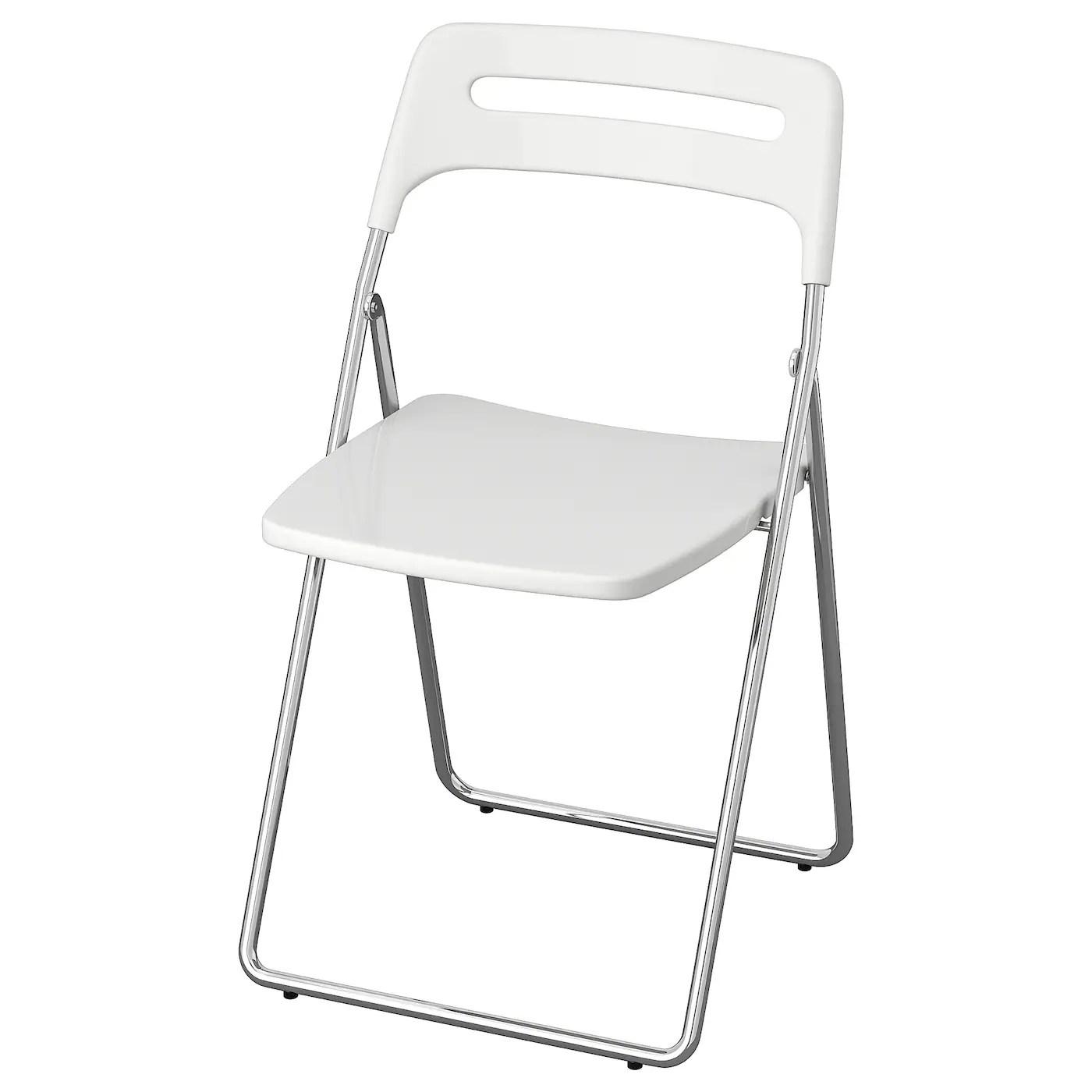 Nisse Chaise Pliante Brillant Blanc Chrome Ikea