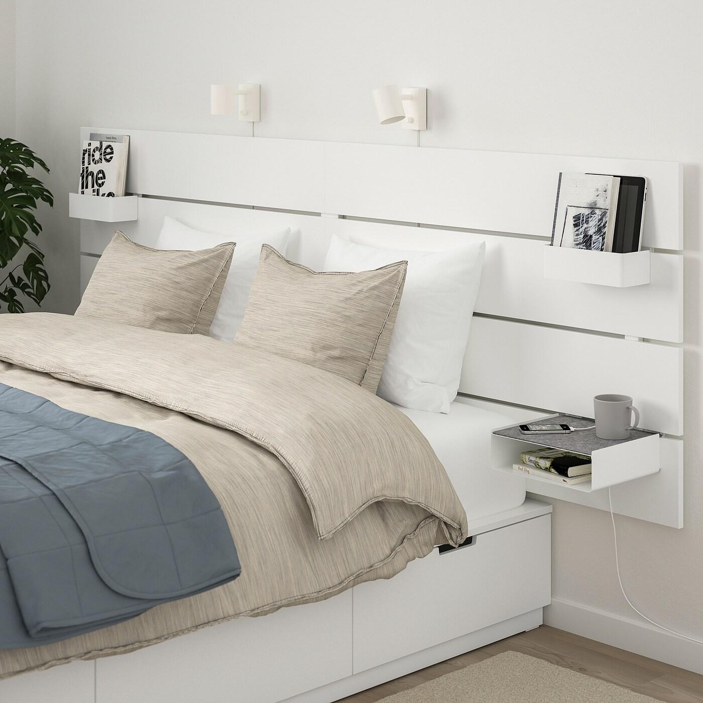 Nordli Cadre De Lit Rangement Tete De Lit Blanc 180x200 Cm Ikea