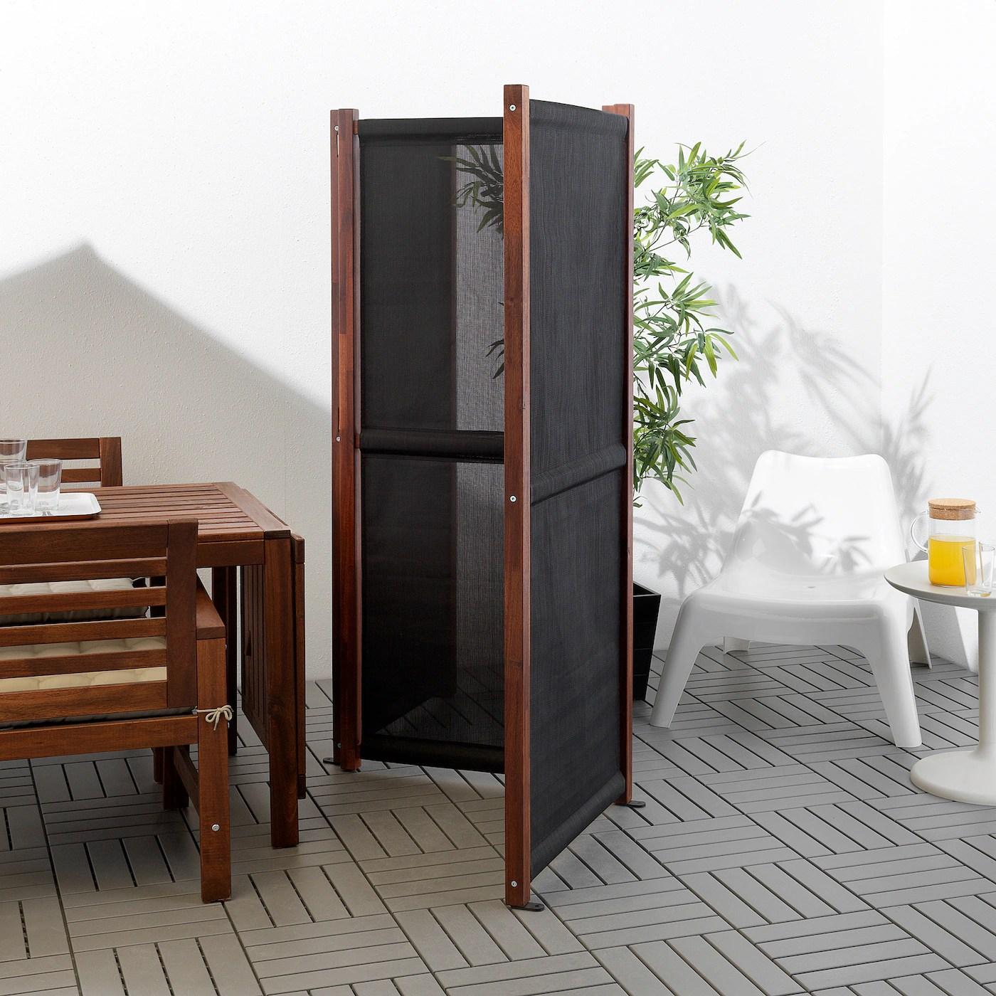 slatto paravent exterieur noir teinte brun 211x170 cm