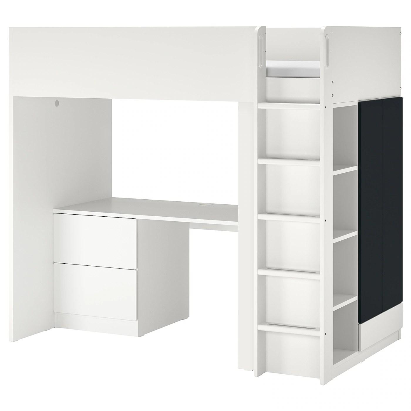 smastad lit mezzanine blanc surface tableau noir avec bureau avec 3 tiroirs 90x200 cm