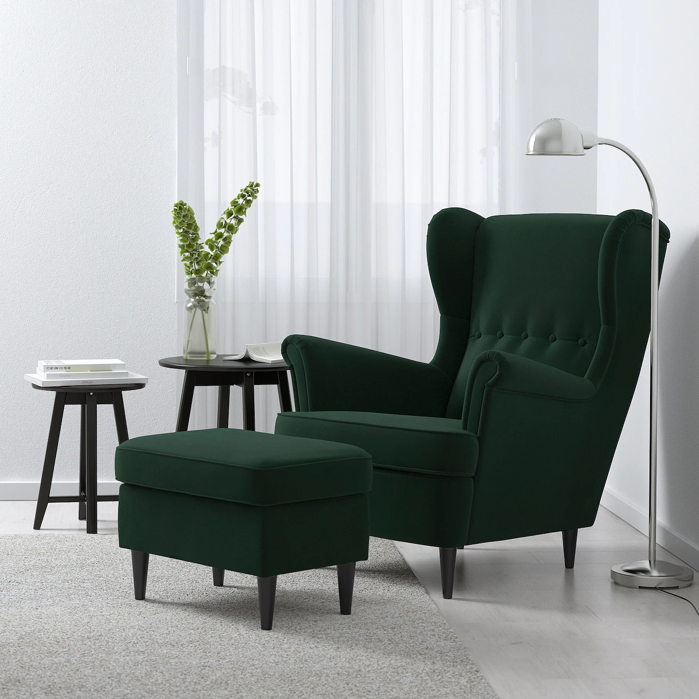 strandmon fauteuil a oreilles djuparp vert fonce