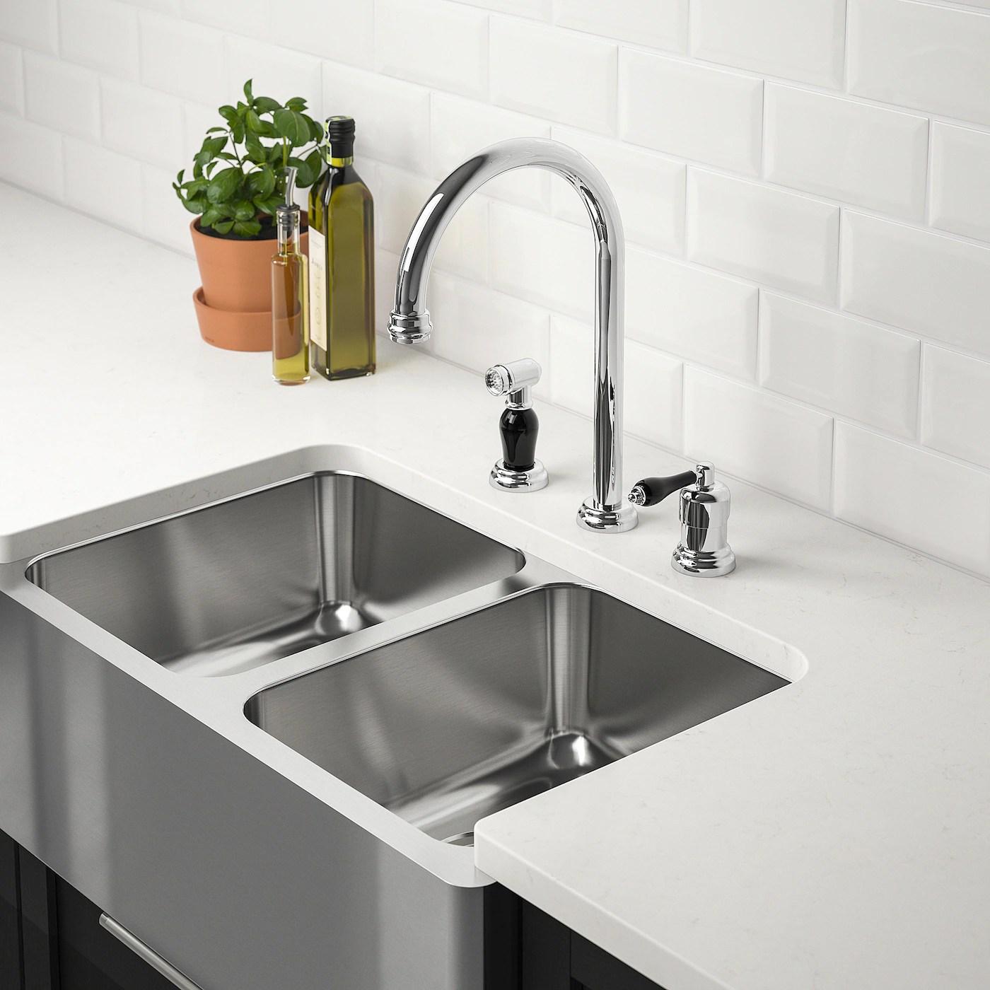 bredsjon apron front double bowl sink under glued stainless steel 30x18 75 9x45 cm