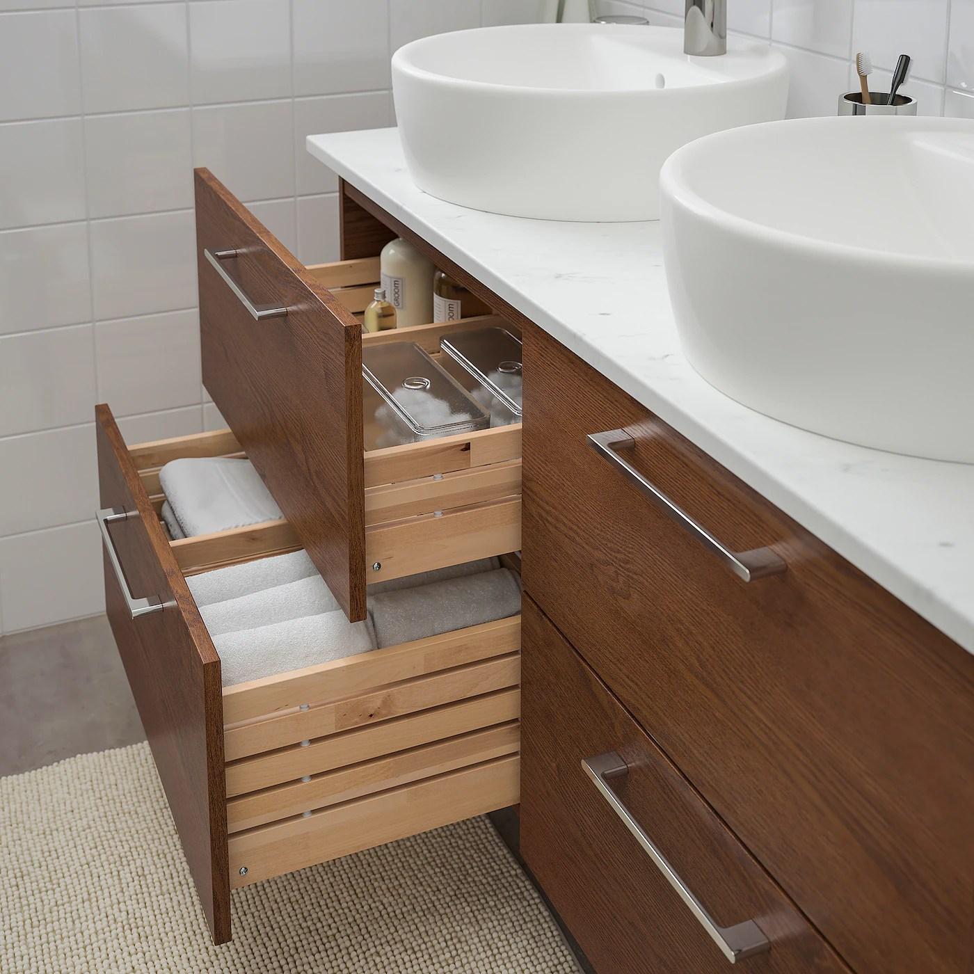 Godmorgon Tolken Tornviken Bathroom Vanity Brown Stained Ash Effect Marble Effect Dalskar Faucet Ikea Canada Ikea