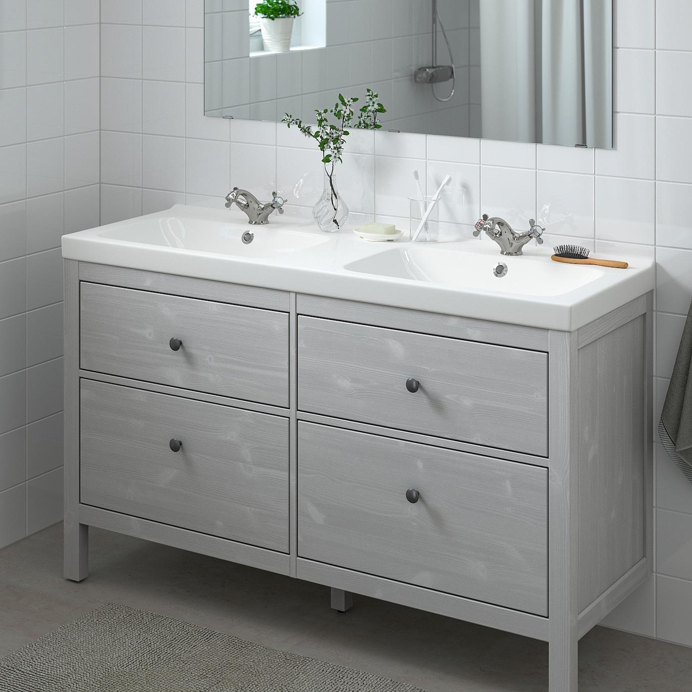 hemnes odensvik bathroom vanity gray runskar faucet 56 1 4x19 1 4x35 143x49x89 cm