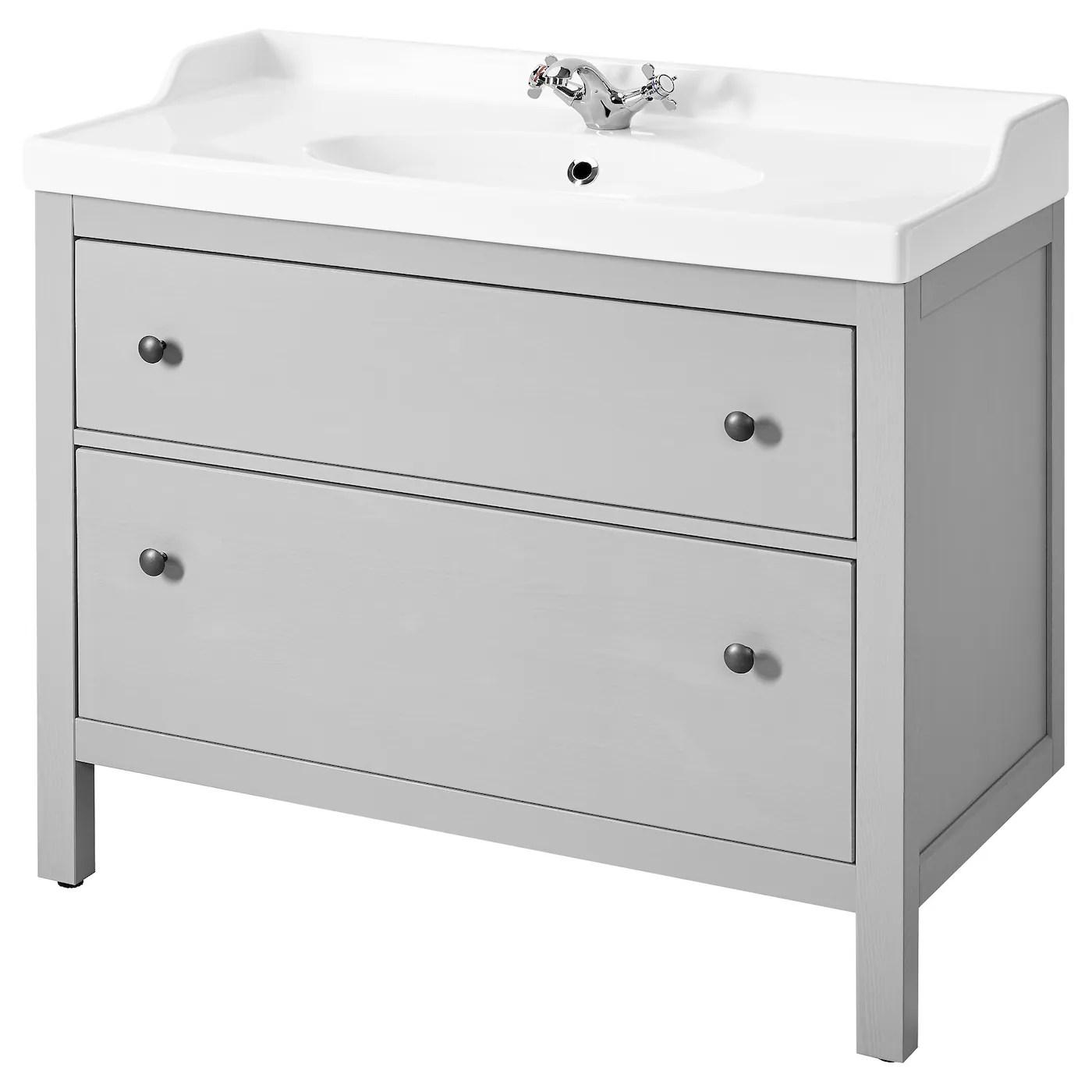 hemnes rattviken bathroom vanity gray runskar faucet 40 1 8x19 1 4x35 102x49x89 cm