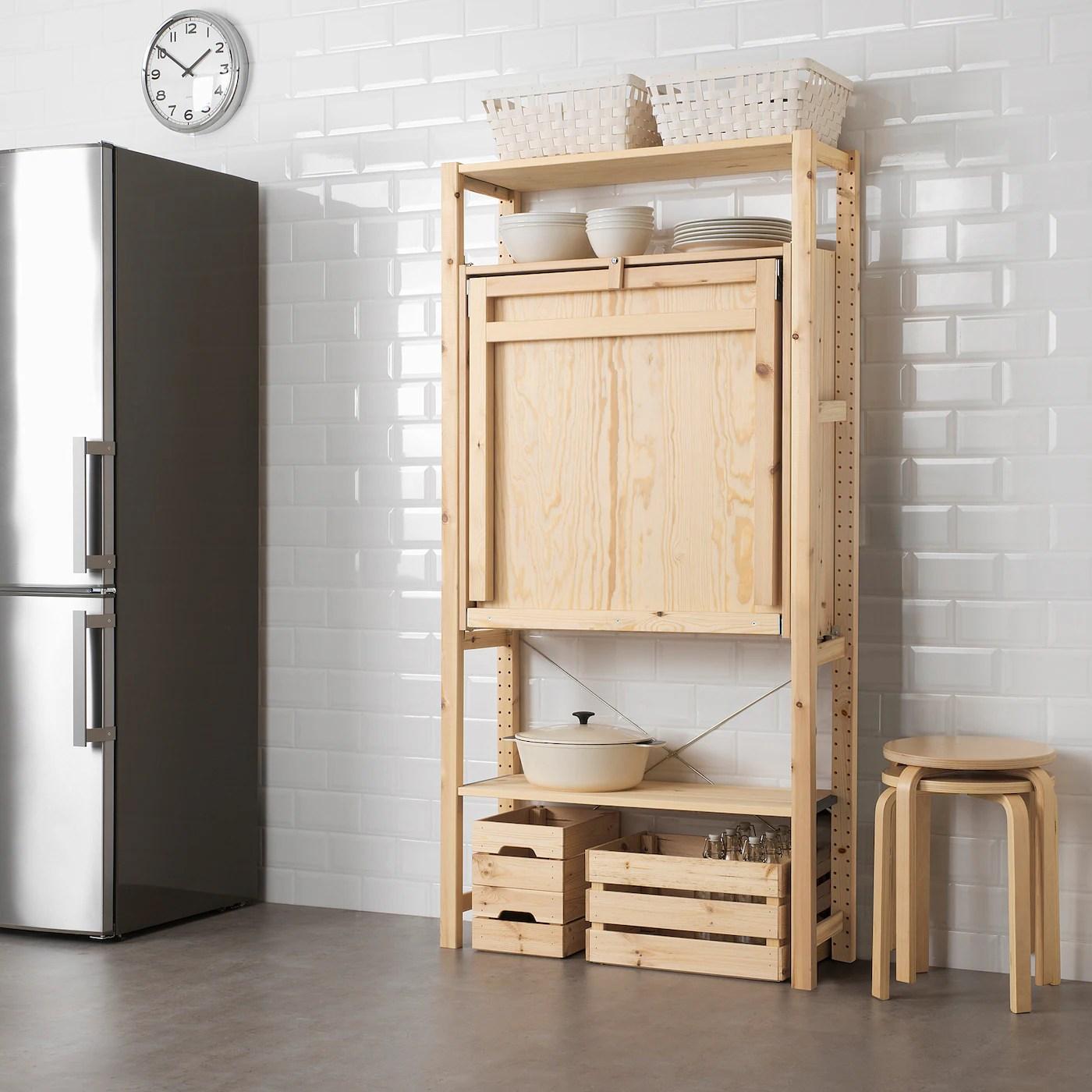 Ivar Shelving Unit With Foldable Table Ikea