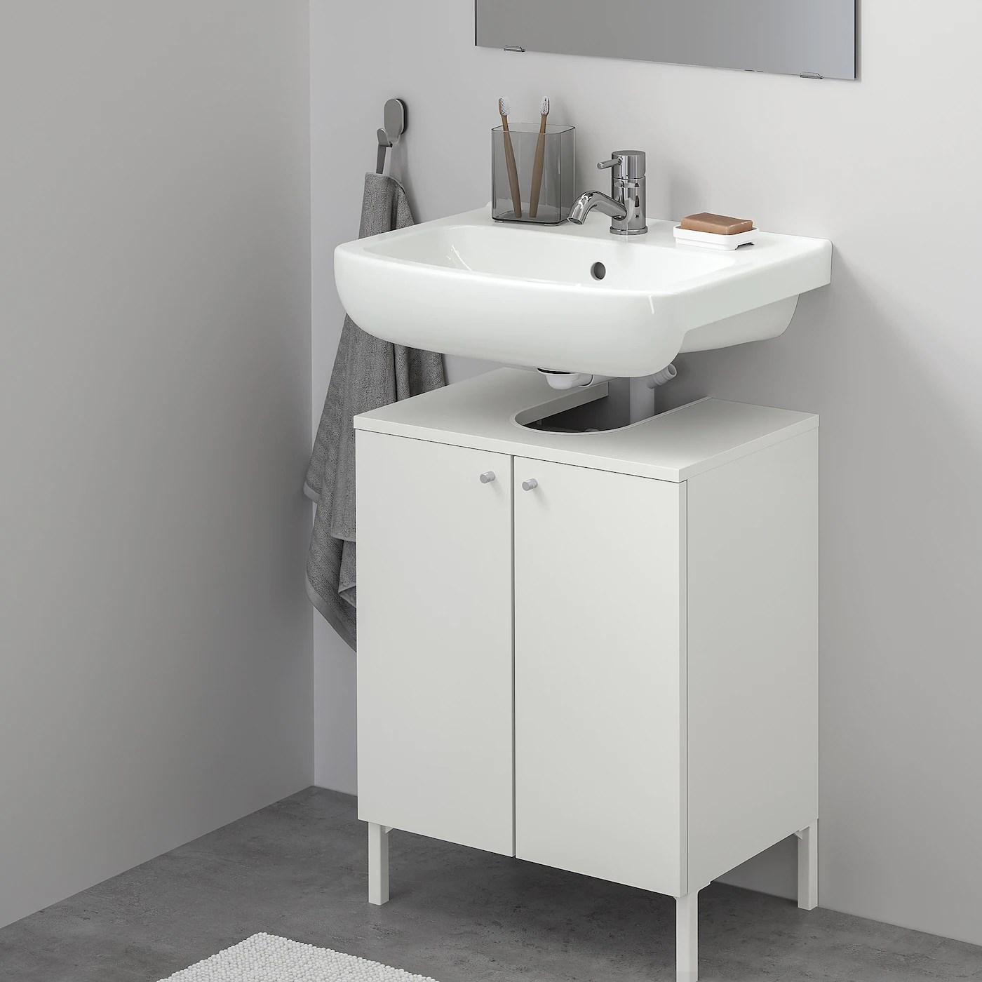 nysjon bjorkan sink base cabinet with 2 doors white pilkan faucet 21 1 4x31 1 2 54x80 cm