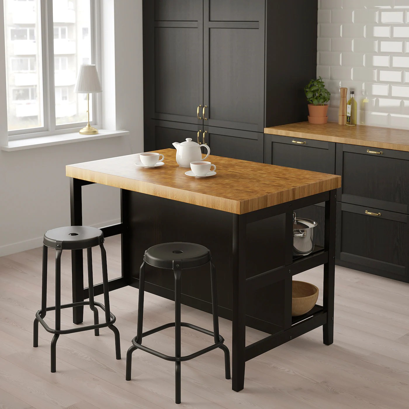 Vadholma Kitchen Island Black Oak Shop Ikea Ikea