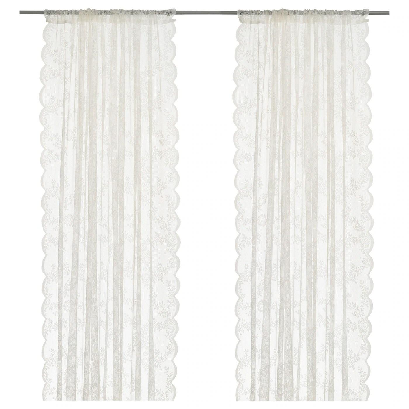 alvine spets rideaux filet 2 panneaux blanc casse 57x98 145x250 cm