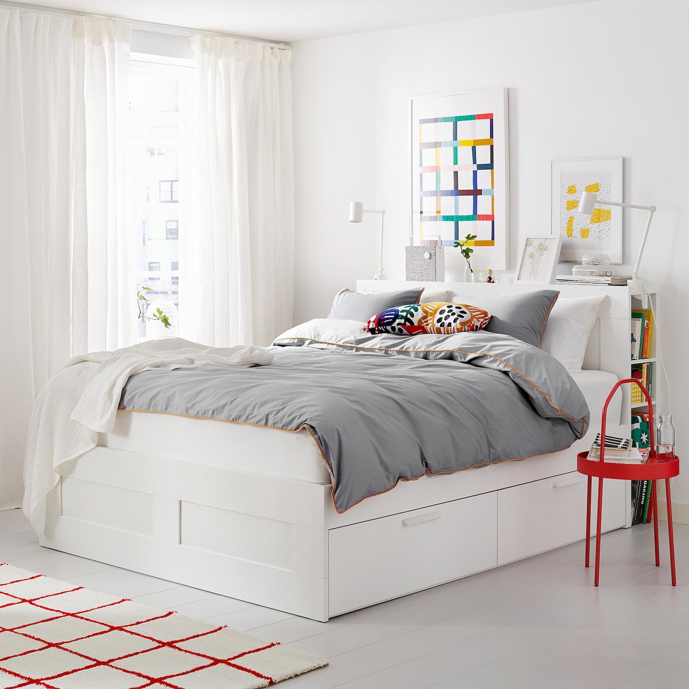 brimnes struct de lit rangement tete de lit blanc luroy deux places