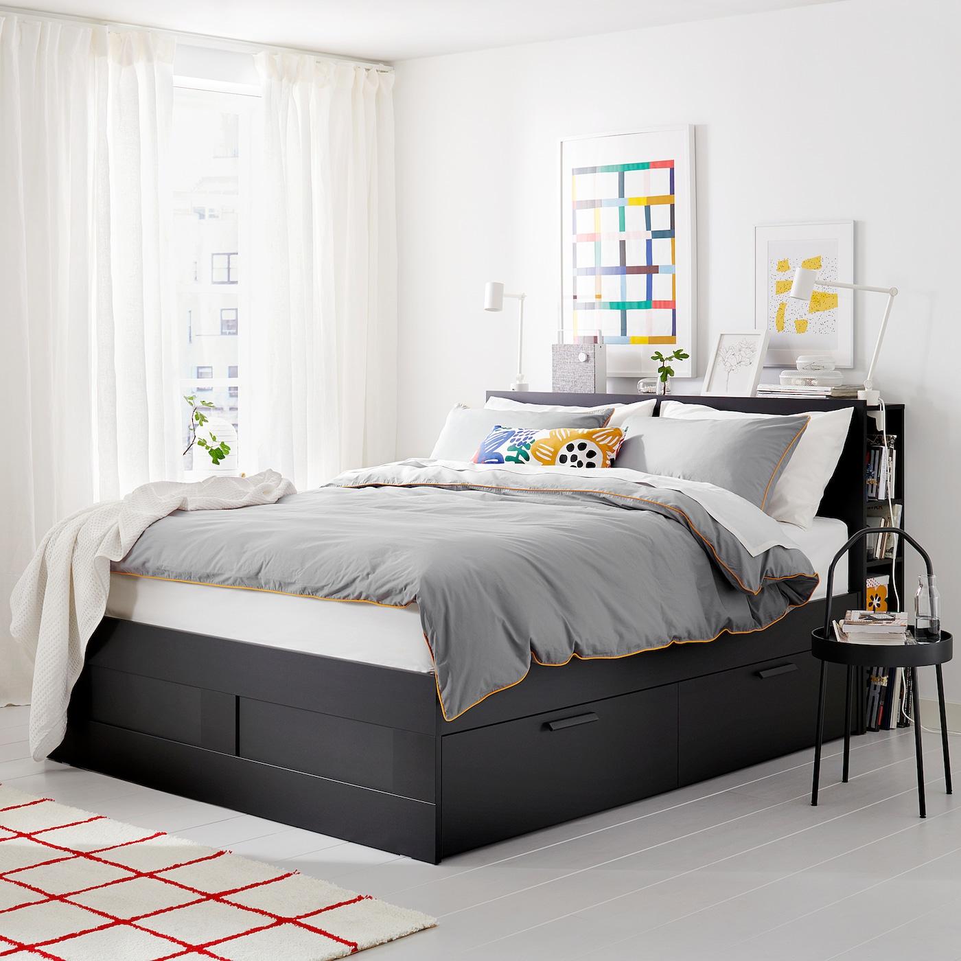 brimnes struct de lit rangement tete de lit noir luroy grand deux places