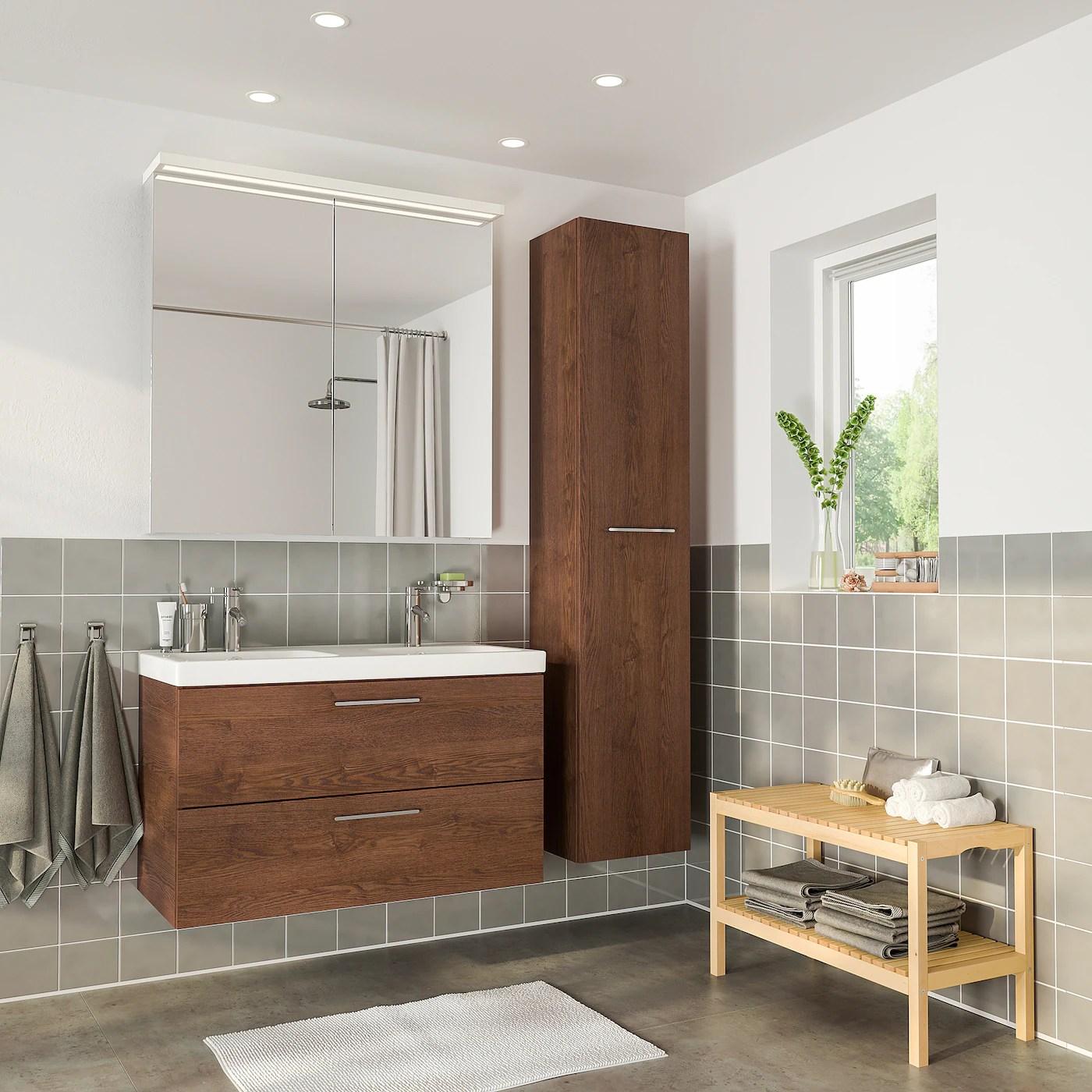 godmorgon odensvik mobilier salle de bains 6 pieces effet frene teinte brun mitigeur lavabo dalskar 40 1 2x19 1 4x25 1 4 103x49x64 cm