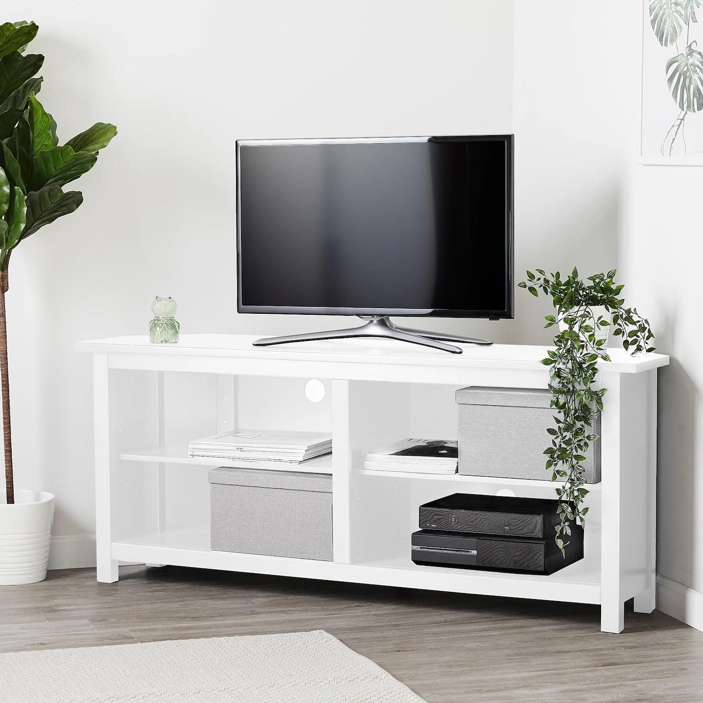 hemnes meuble tele d angle blanc 57 7 8x24 147x61 cm