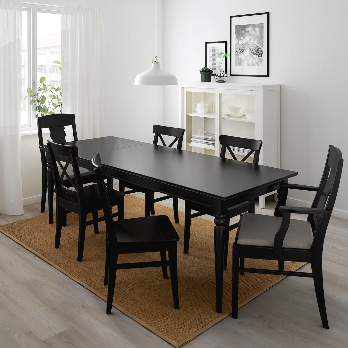 ingatorp ingolf table et 6 chaises noir nolhaga gris beige 61 84 5 8 155 215 cm