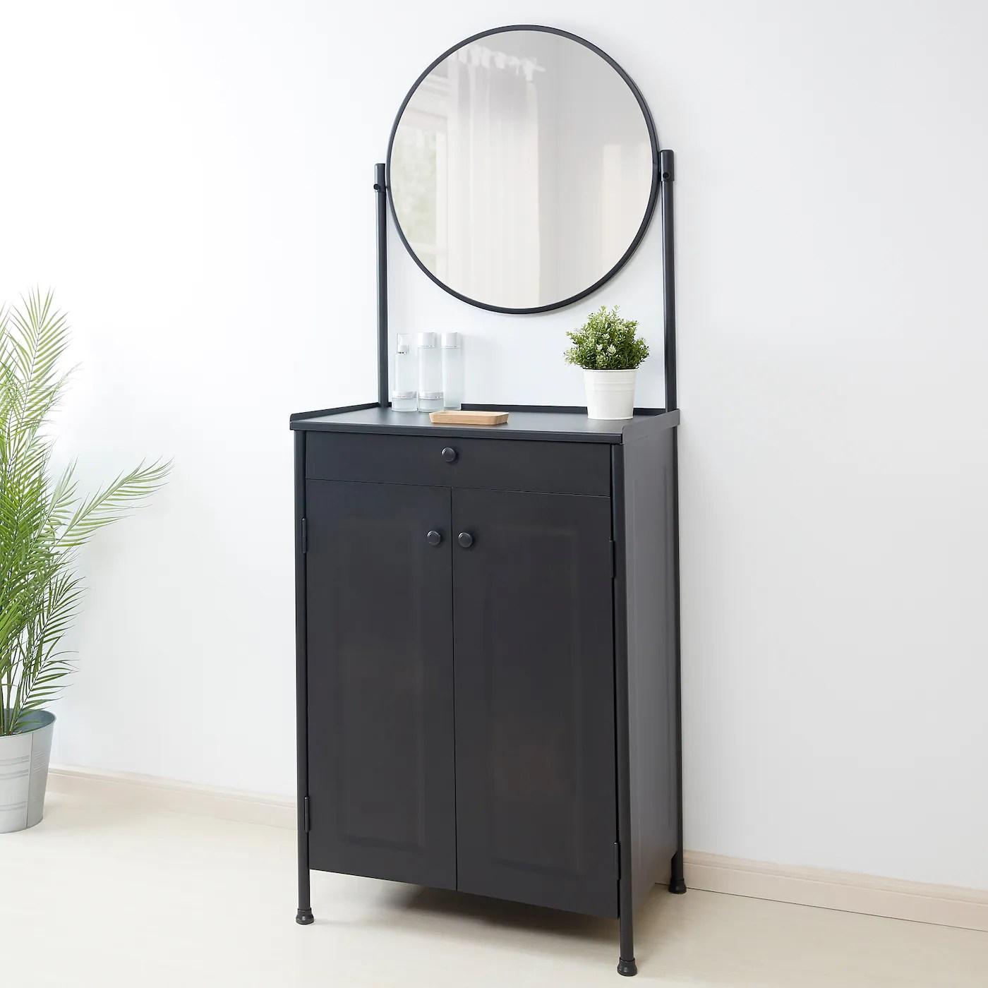 Kornsjo Rangement Avec Miroir Noir Magasinez Chez Ikea Ikea