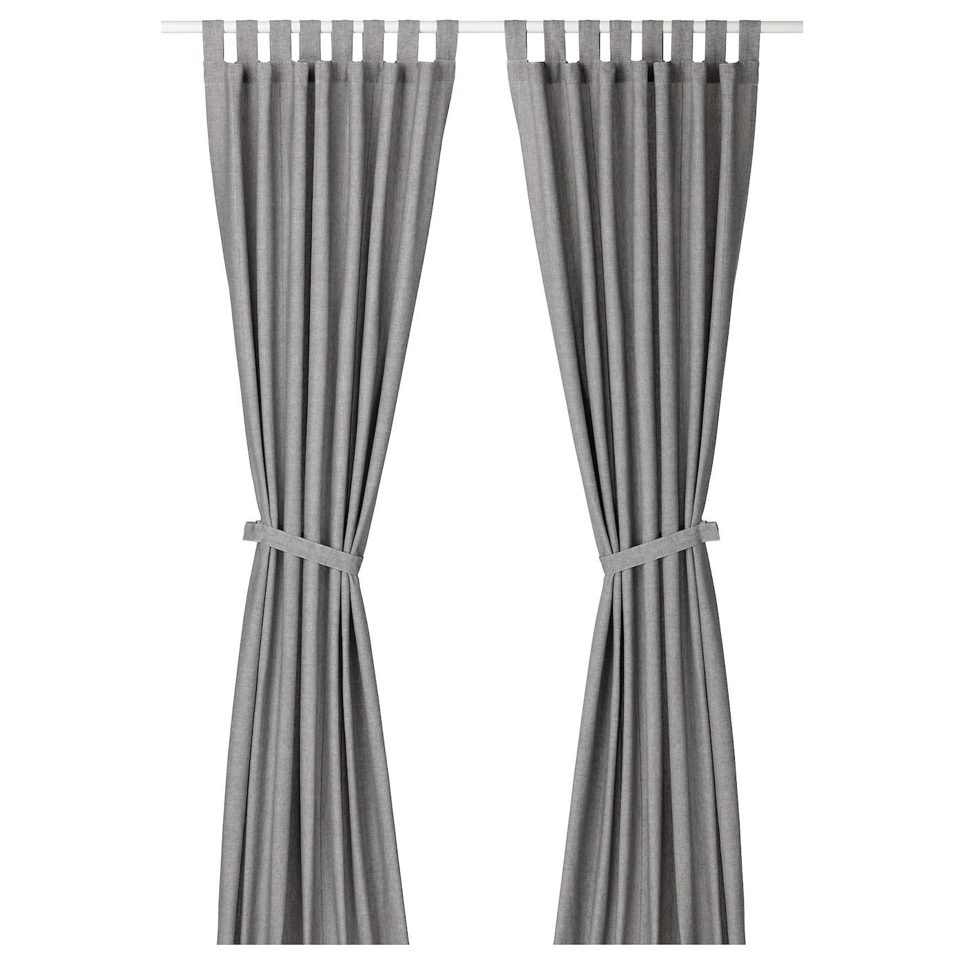 lenda rideaux embrasses 2 panneaux gris 55x118 140x300 cm