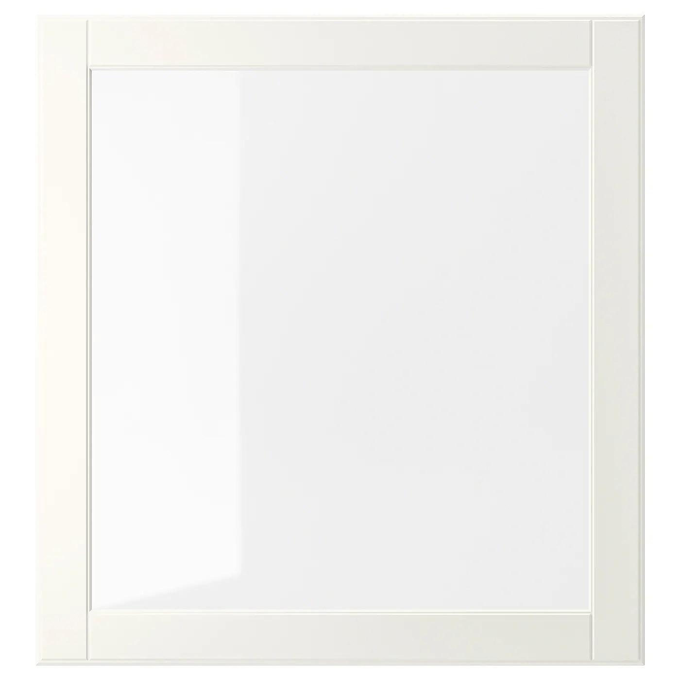 ostvik porte vitree blanc verre clair 23 5 8x25 1 4 60x64 cm
