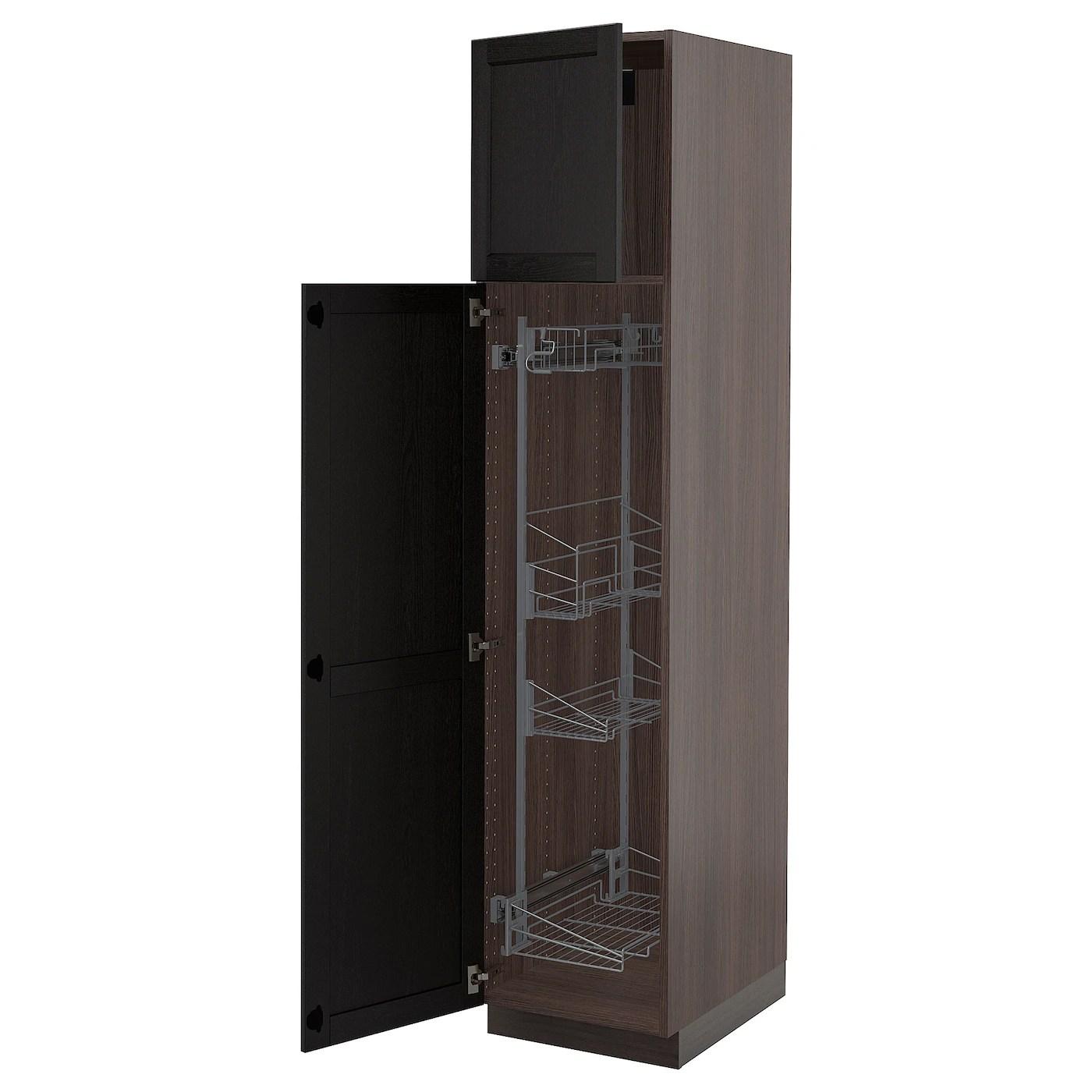 sektion armoire haute rangement coulissant brun lerhyttan teinte noir 18x24x80 46x61x203 cm