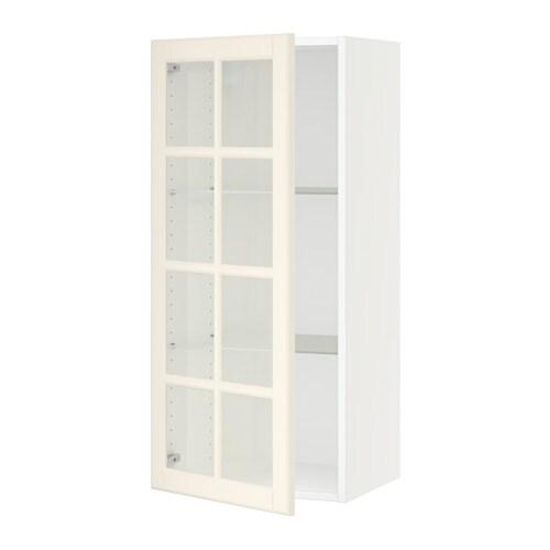 sektion armoire murale porte vitree blanc bodbyn blanc casse 18x15x40 ikea