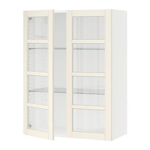 sektion armoire murale 2 portes vitrees blanc hittarp blanc casse 30x15x40 ikea