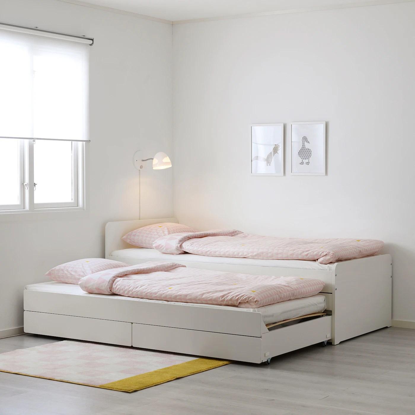 slakt lit tiroir rangement blanc une place