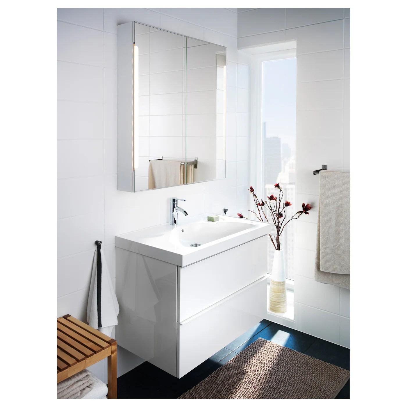 Storjorm Armoire Miroir 2pte Eclairage Int Blanc 80x14x96cm Magasinez Ici Ikea