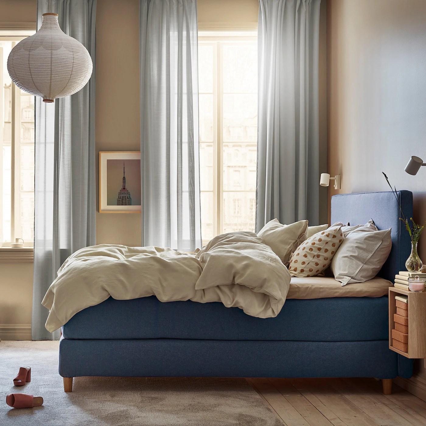 Dunvik Housse Lit Sommier Gunnared Bleu 160x200 Cm Ikea Suisse