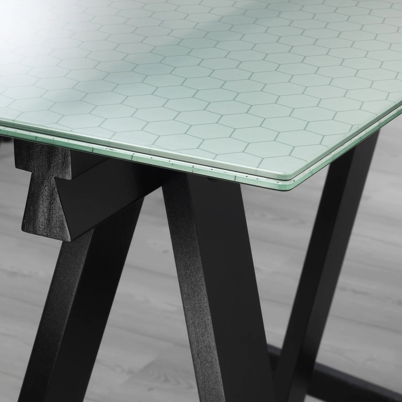 Glasholm Oddvald Table Verre Motif Nid D Abeille Noir Ikea Suisse