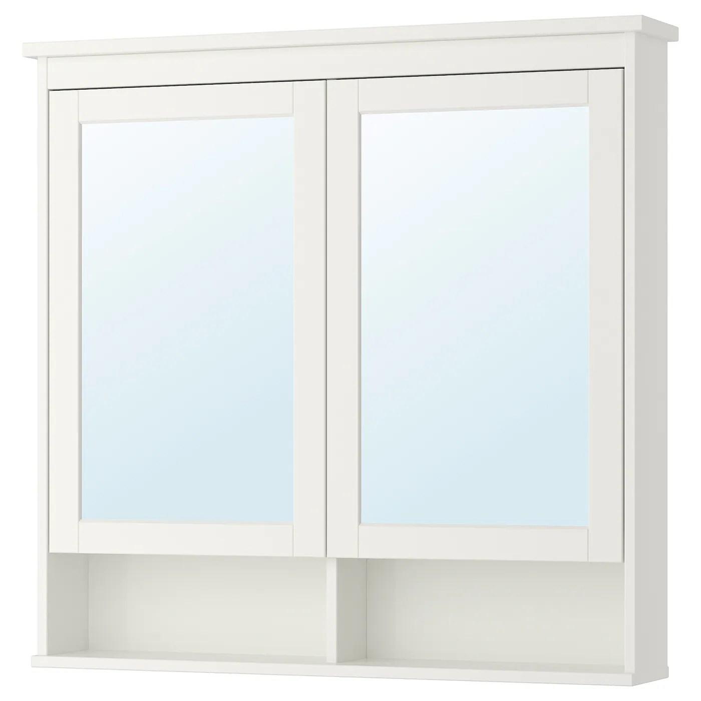 Hemnes Meuble A Miroir 2 Portes Blanc 103x16x98 Cm Ikea Suisse