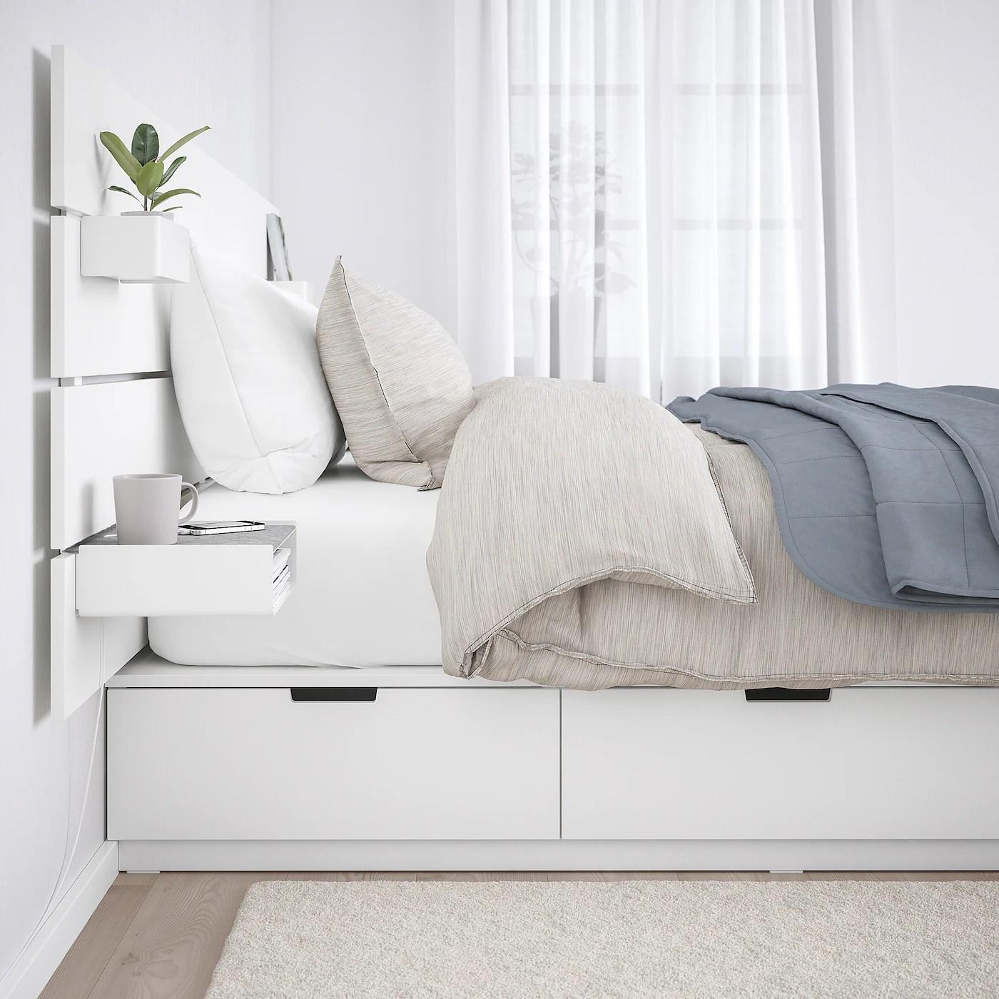 Nordli Cadre De Lit Rangement Tete De Lit Blanc Ikea Suisse