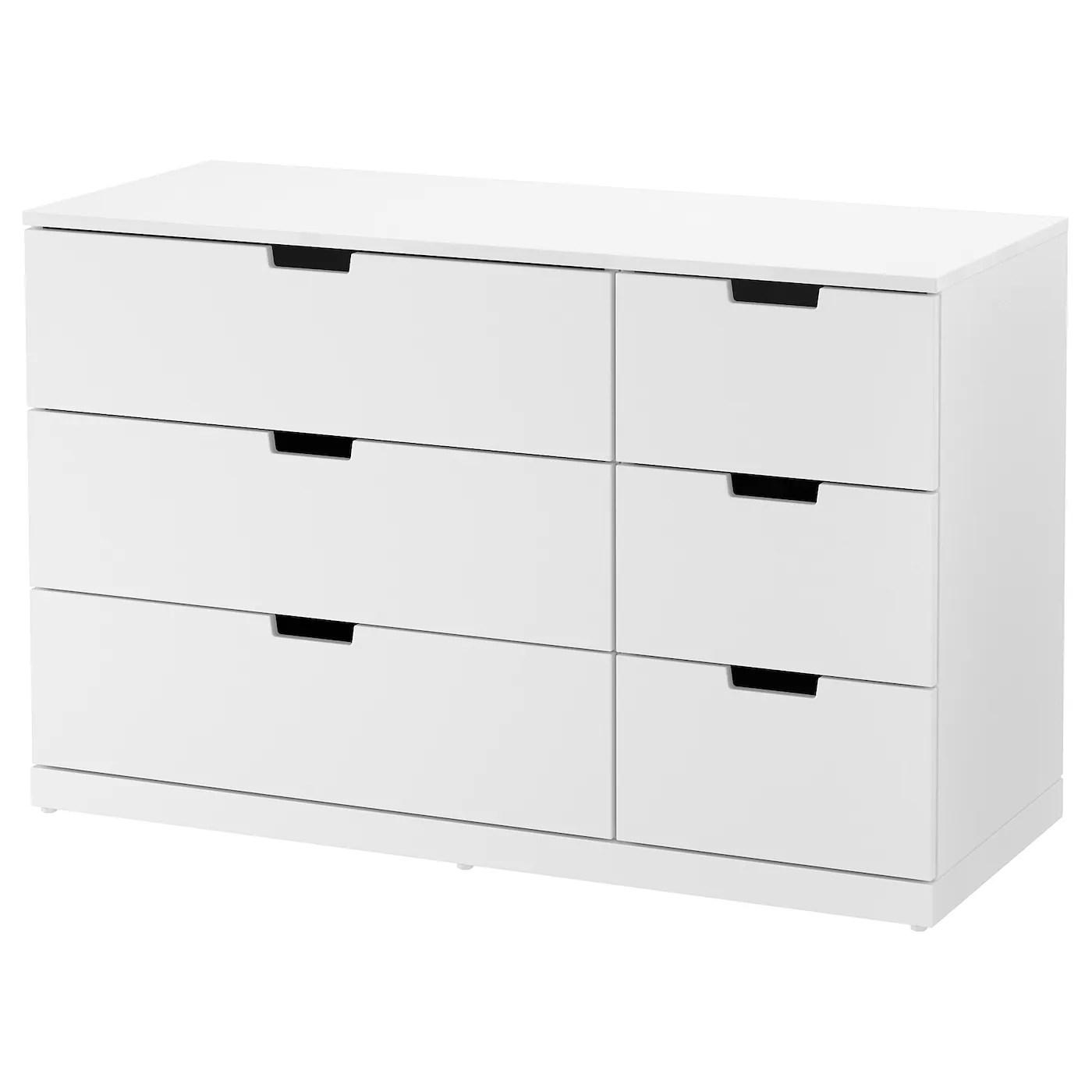 nordli commode 6 tiroirs blanc 120x76 cm