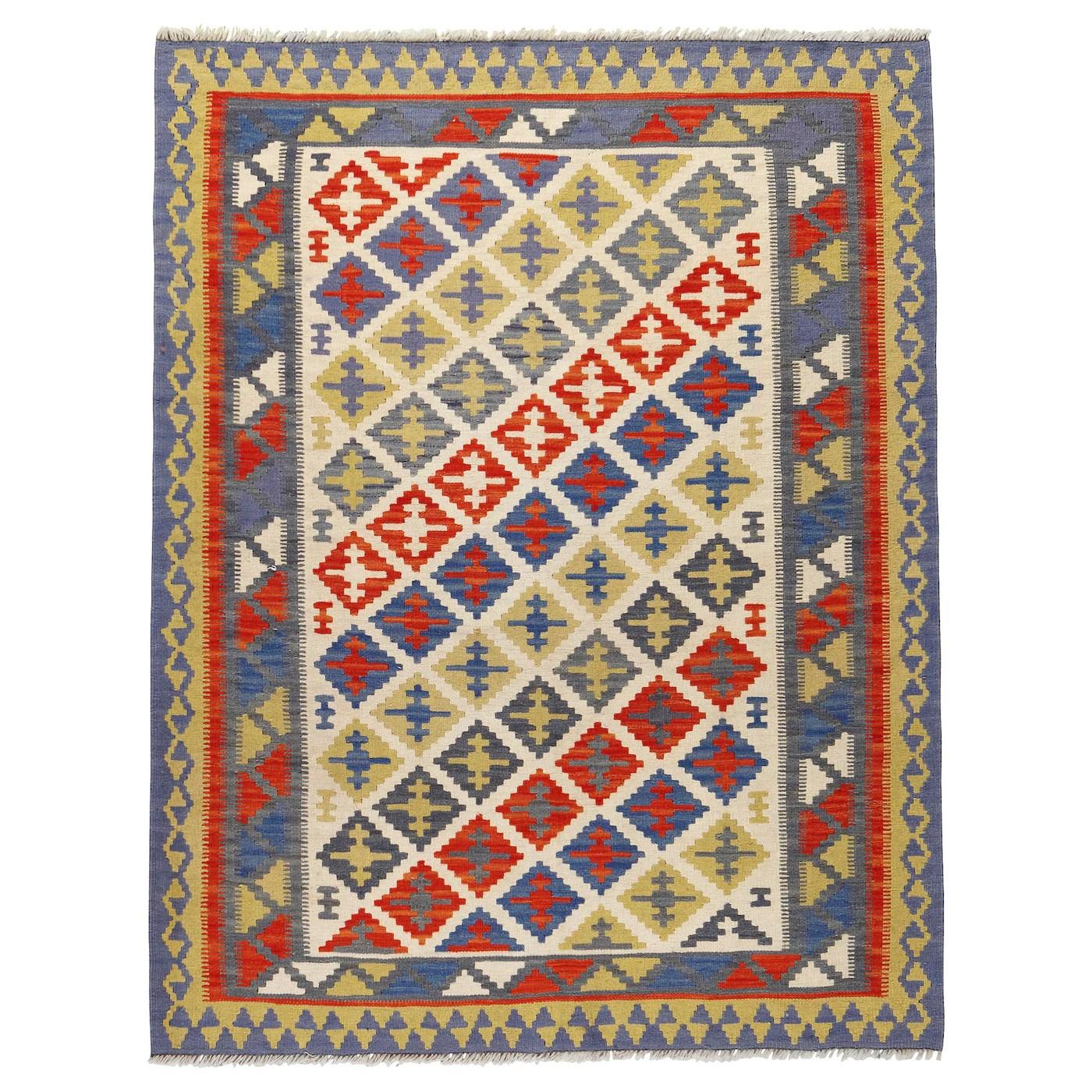 persisk kelim gashgai tapis tisse a plat fait main motifs divers 125x180 cm