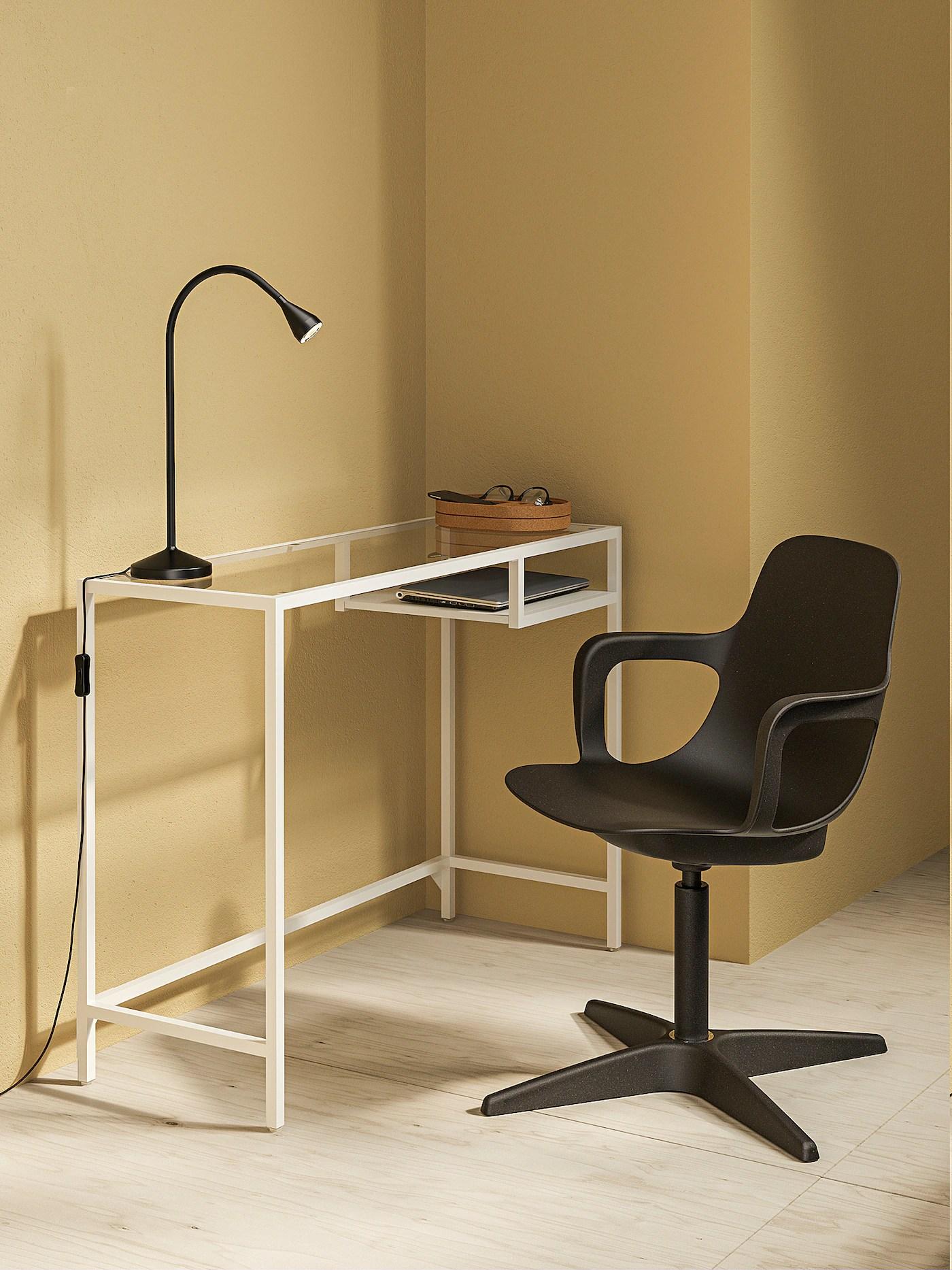 Vittsjo Table Ordinateur Portable Blanc Verre 100x36 Cm Ikea Suisse