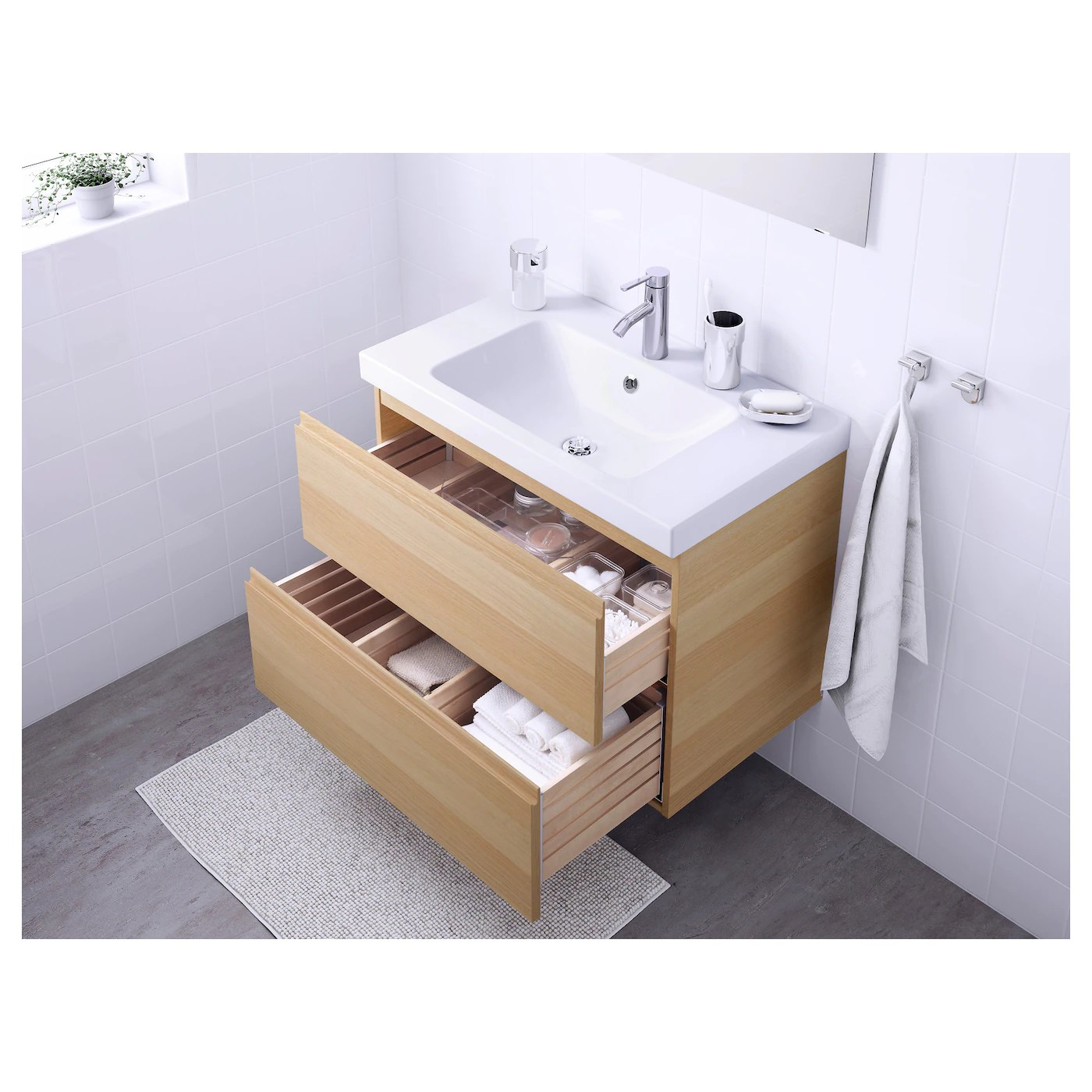 Godmorgon Odensvik Wash Stand With 2 Drawers White Stained Oak Effect Dalskar Tap Ikea
