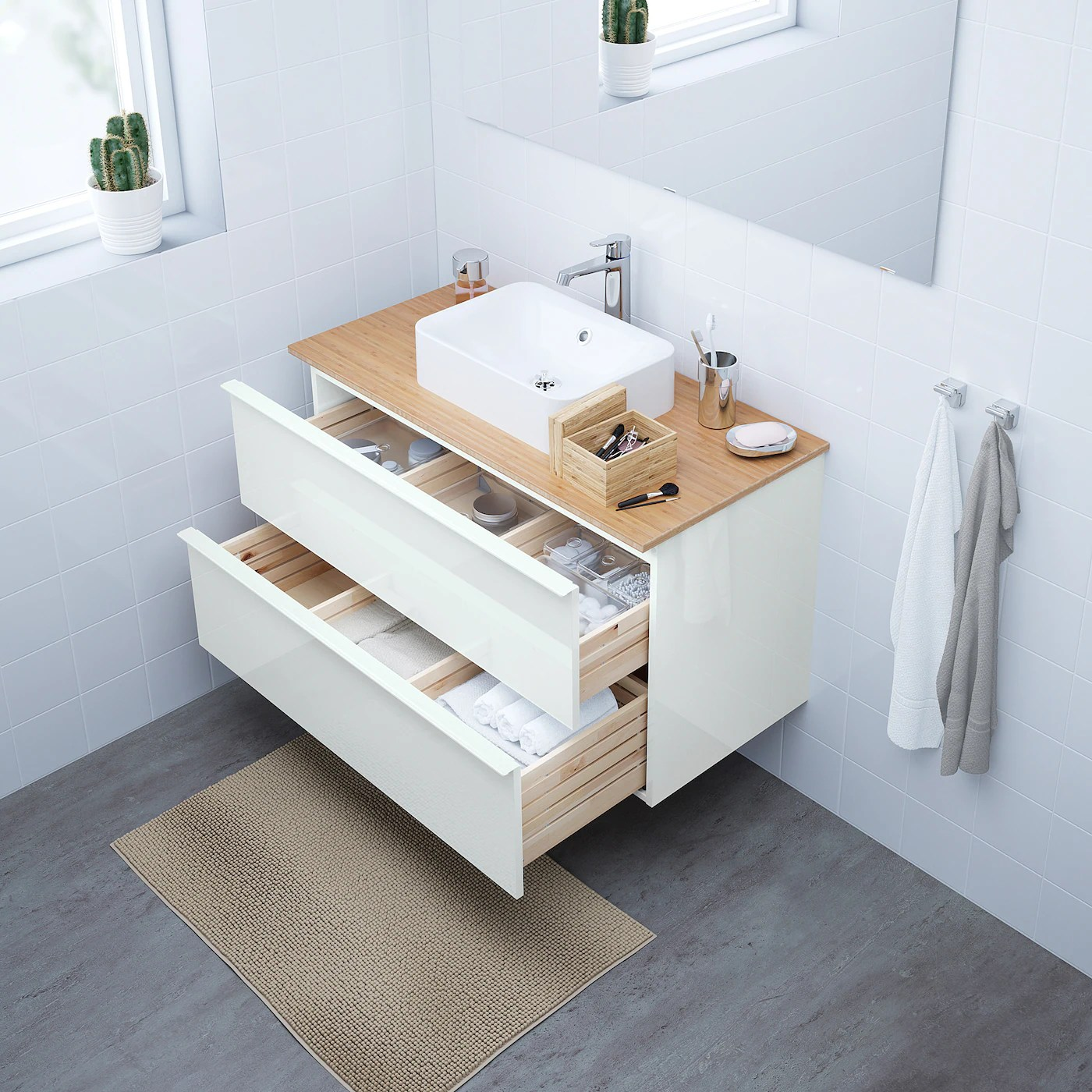 Godmorgon Wash Stand With 2 Drawers High Gloss White 100x47x58 Cm Ikea