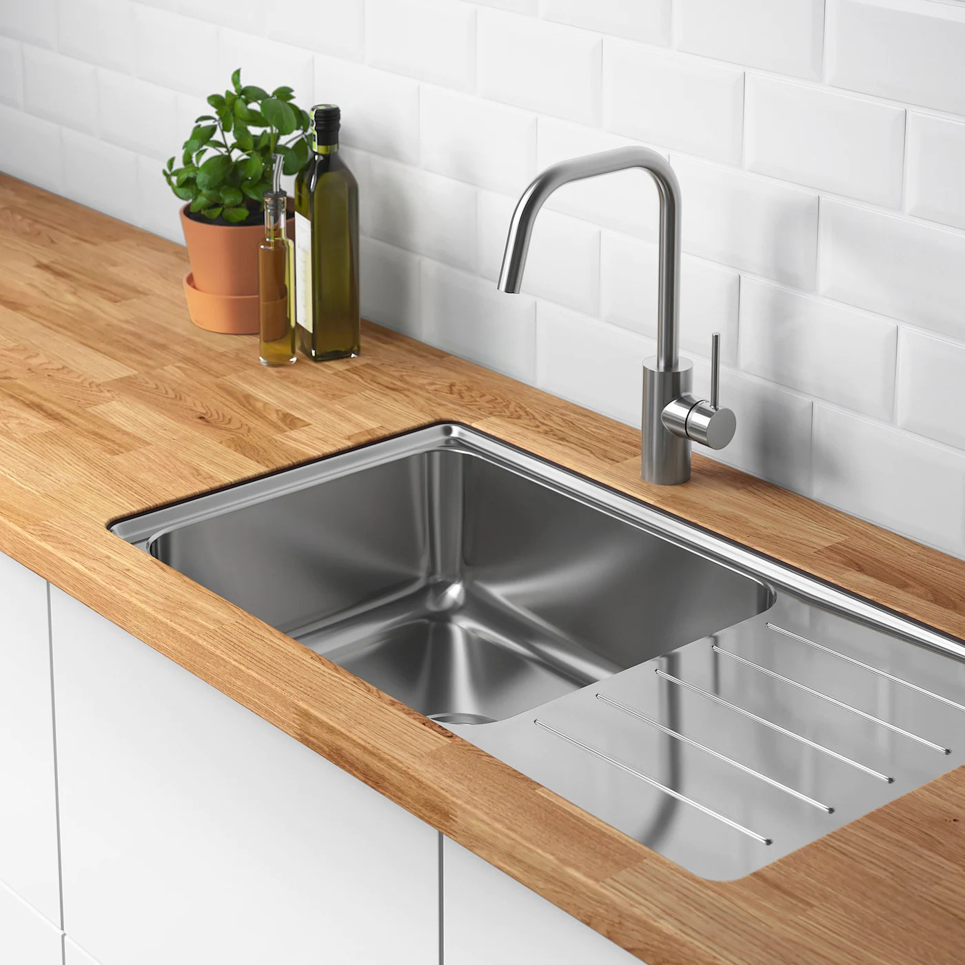 Vattudalen Inset Sink 1 Bowl With Drainboard Stainless Steel For Custom Made Worktop Wood 86x47 Cm Ikea
