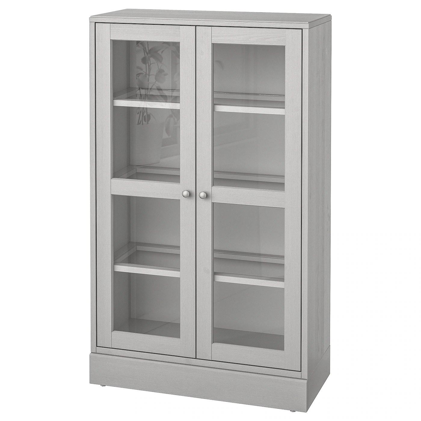havsta vitrine mit sockel grau klarglas 81x37x134 cm
