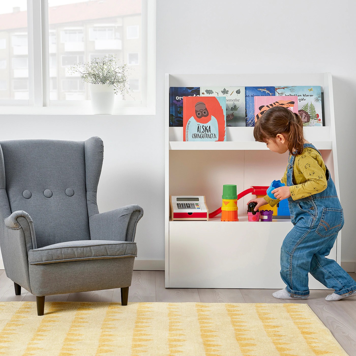 Bergig Bogholder Med Opbevaring Hvid Ikea