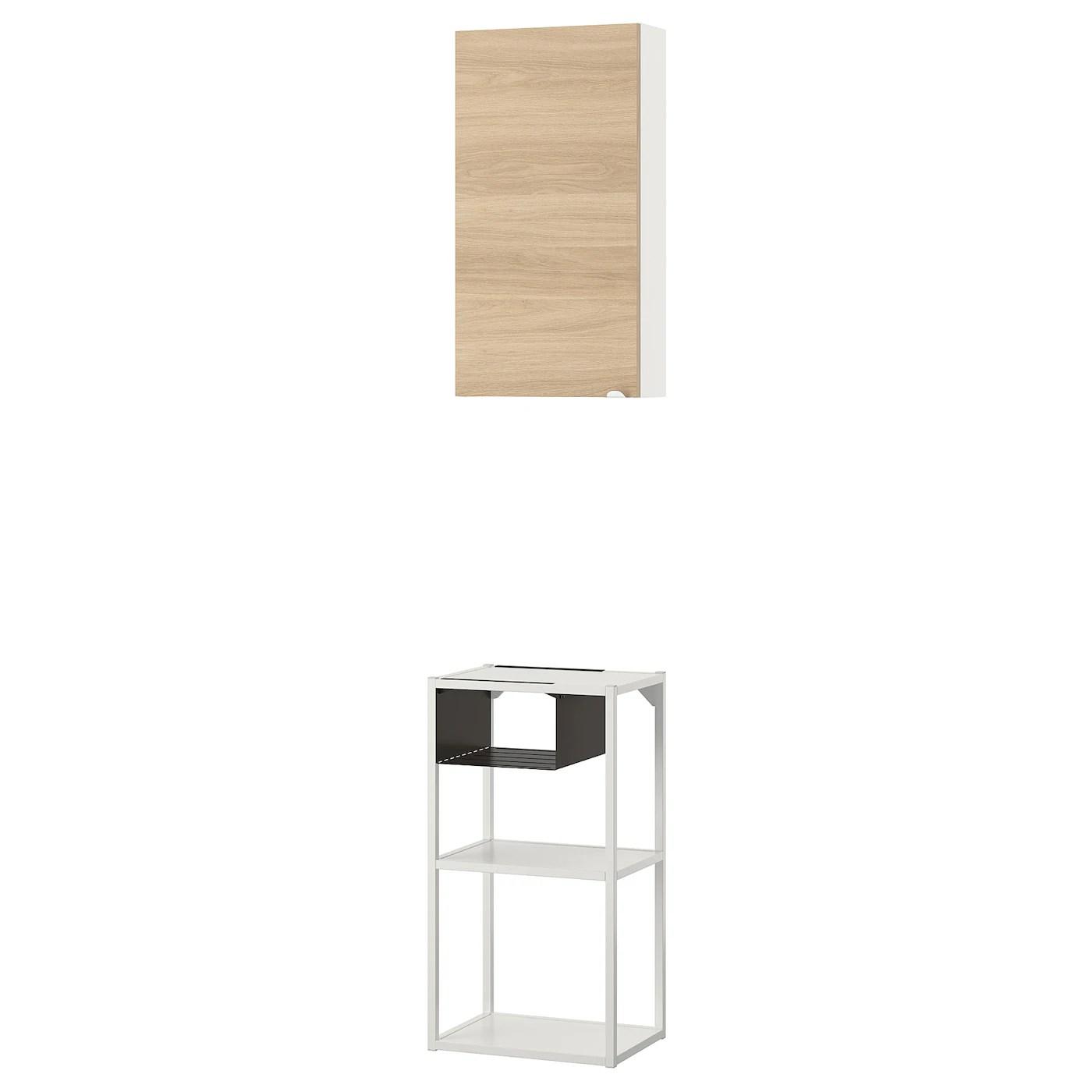 Enhet Vaegopbevaringskombination Hvid Egetraesmonstret Ikea