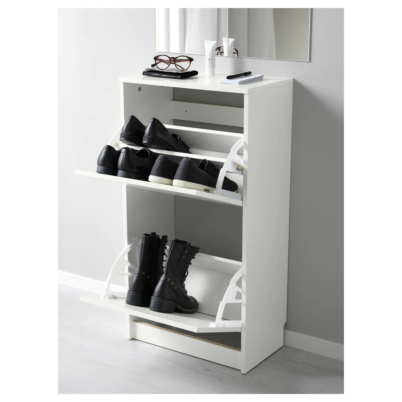bissa shoe cabinet with 2 compartments white 49x28x93 cm