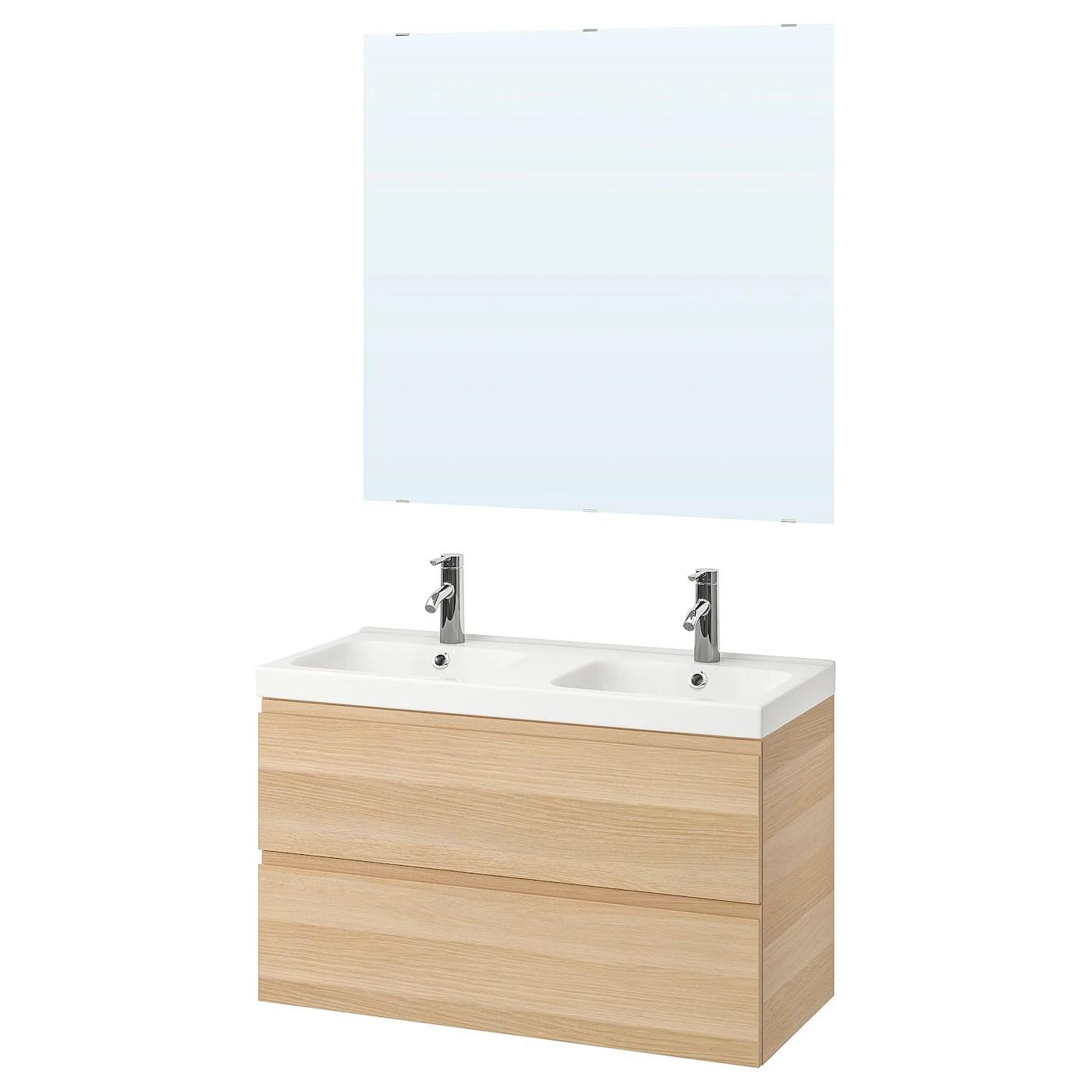 godmorgon odensvik bathroom furniture set of 5 white stained oak effect dalskar tap 103 cm
