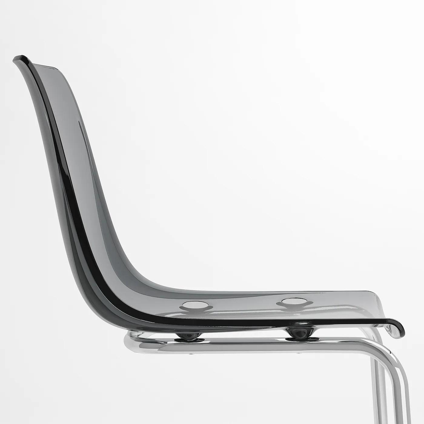 Tobias Chair Grey Chrome Plated Ikea