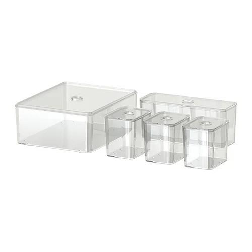 GODMORGON Caja con tapa, juego de 5 Más ofertas en IKEA Para organizar las joyas, el maquillaje y los frascos. 10 años de garantía.