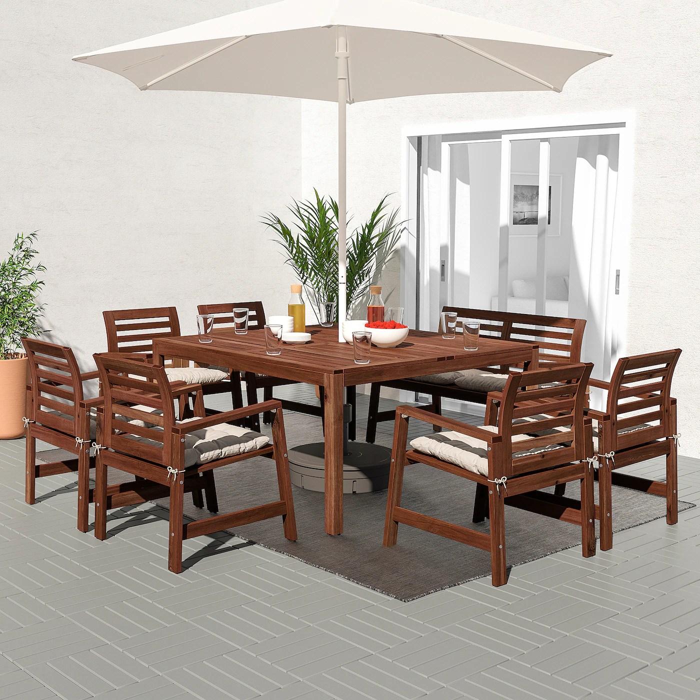 applaro table exterieur teinte brun 140x140 cm