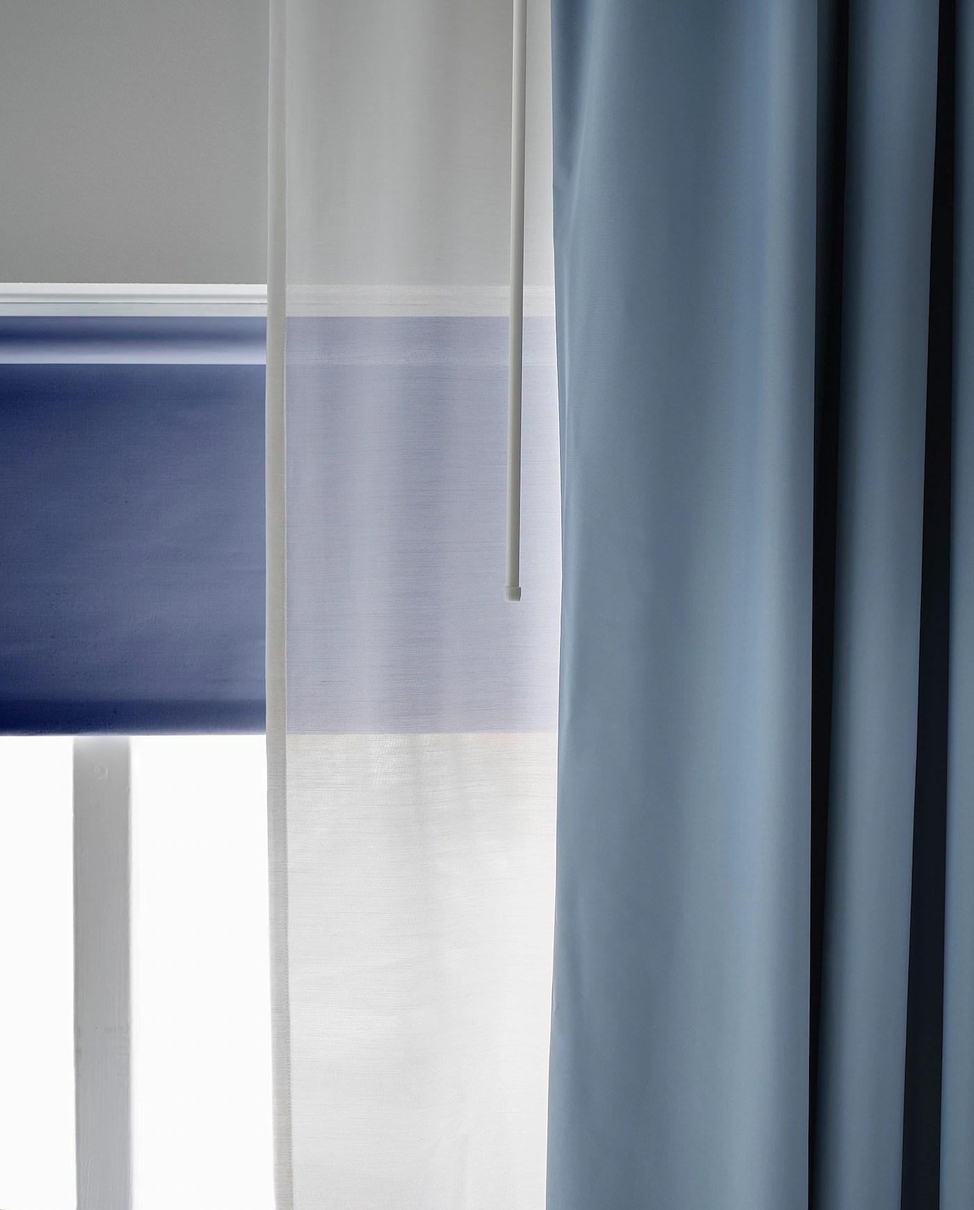 bengta rideau occultant 1 longueur bleu 210x300 cm