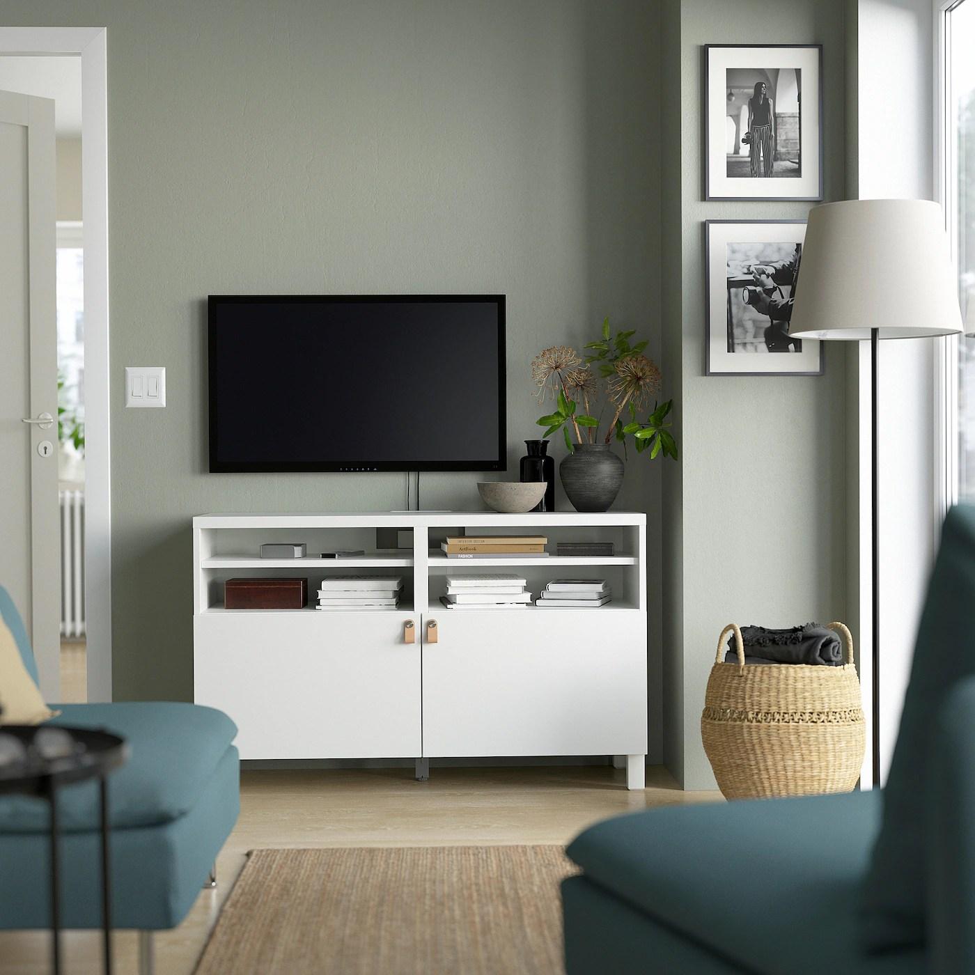 Besta Banc Tv Avec Portes Lappviken Blanc Lappviken Stubbarp Blanc 120x42x74 Cm Ikea