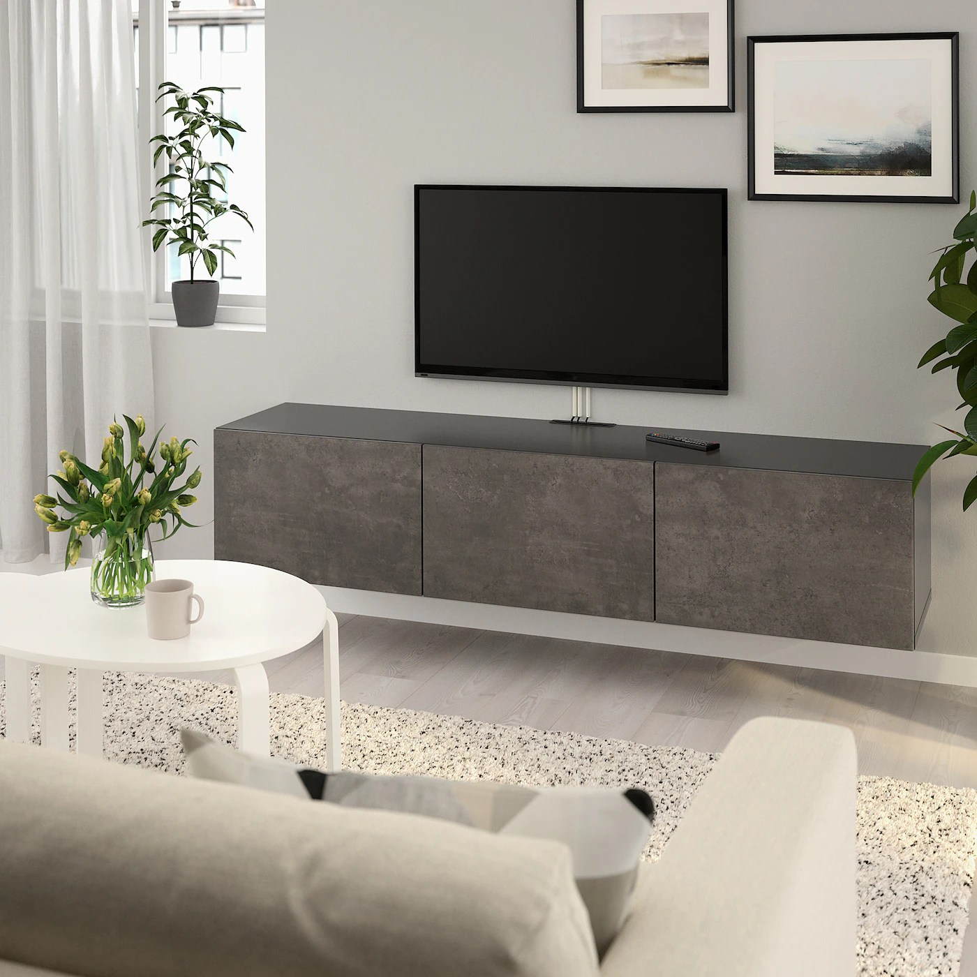 Besta Banc Tv Avec Portes Brun Noir Kallviken Imitation Ciment Ikea