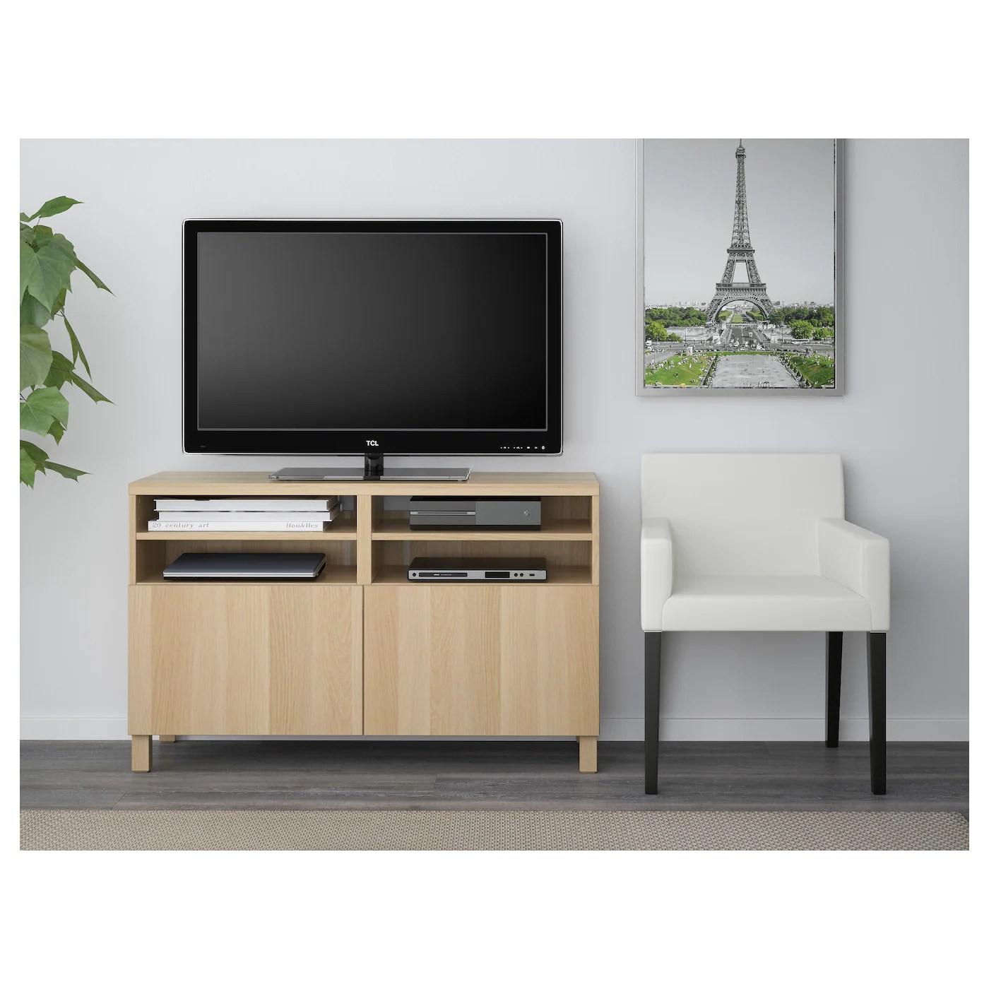 besta banc tv avec portes effet chene blanchi lappviken stubbarp effet chene blanchi 120x42x74 cm
