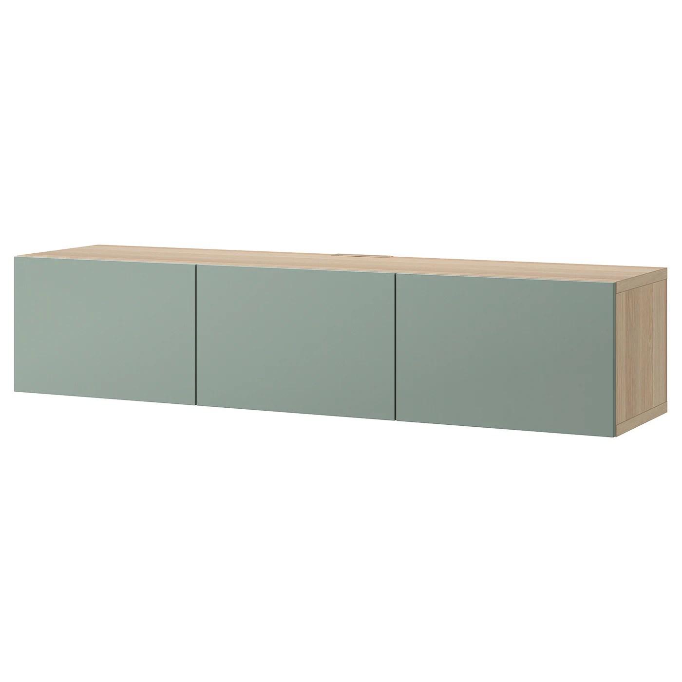 besta banc tv avec portes effet chene blanchi notviken gris vert 180x42x38 cm