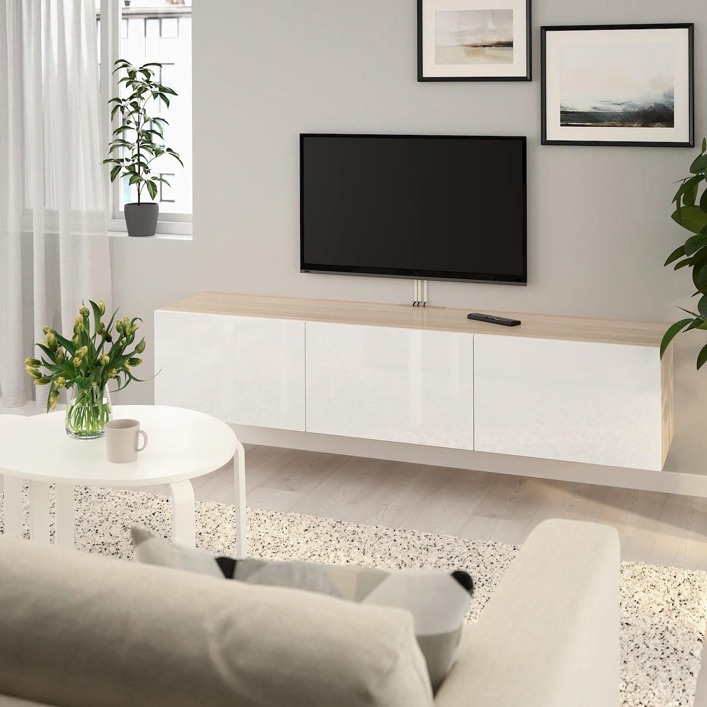Besta Banc Tv Avec Portes Effet Chene Blanchi Selsviken Brillant Blanc Ikea